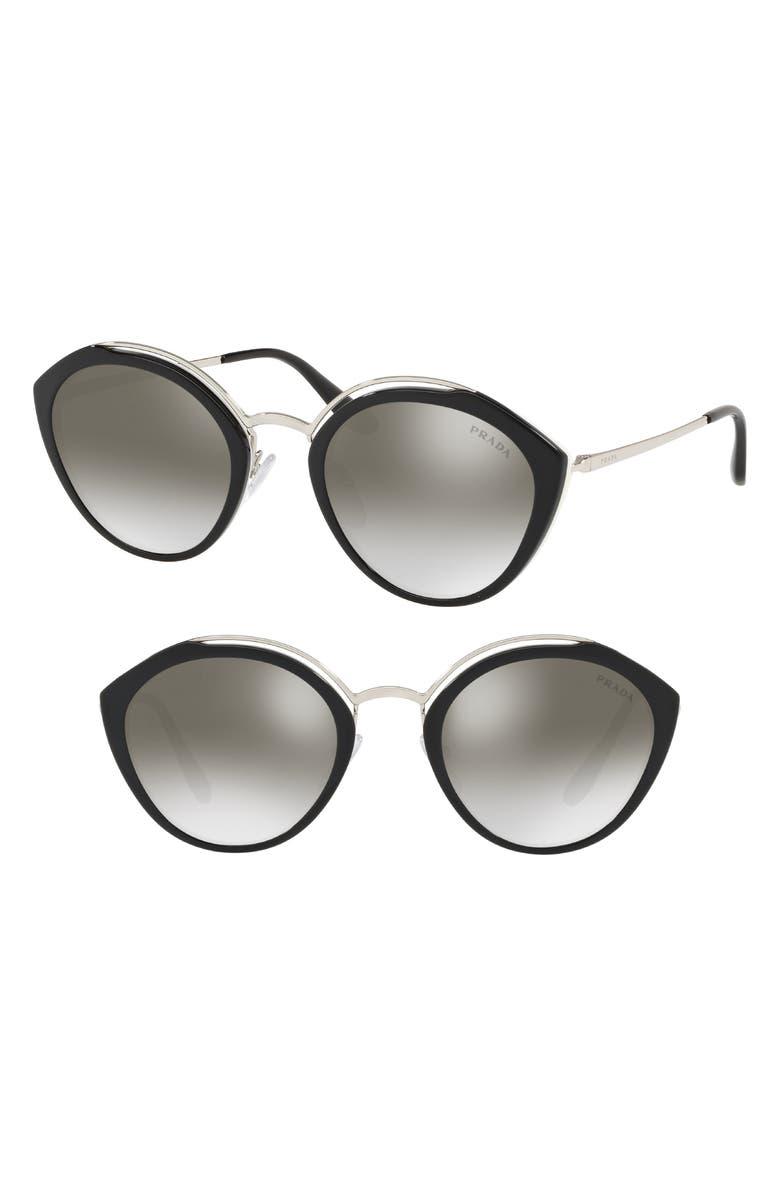 PRADA 53mm Round Sunglasses, Main, color, 001