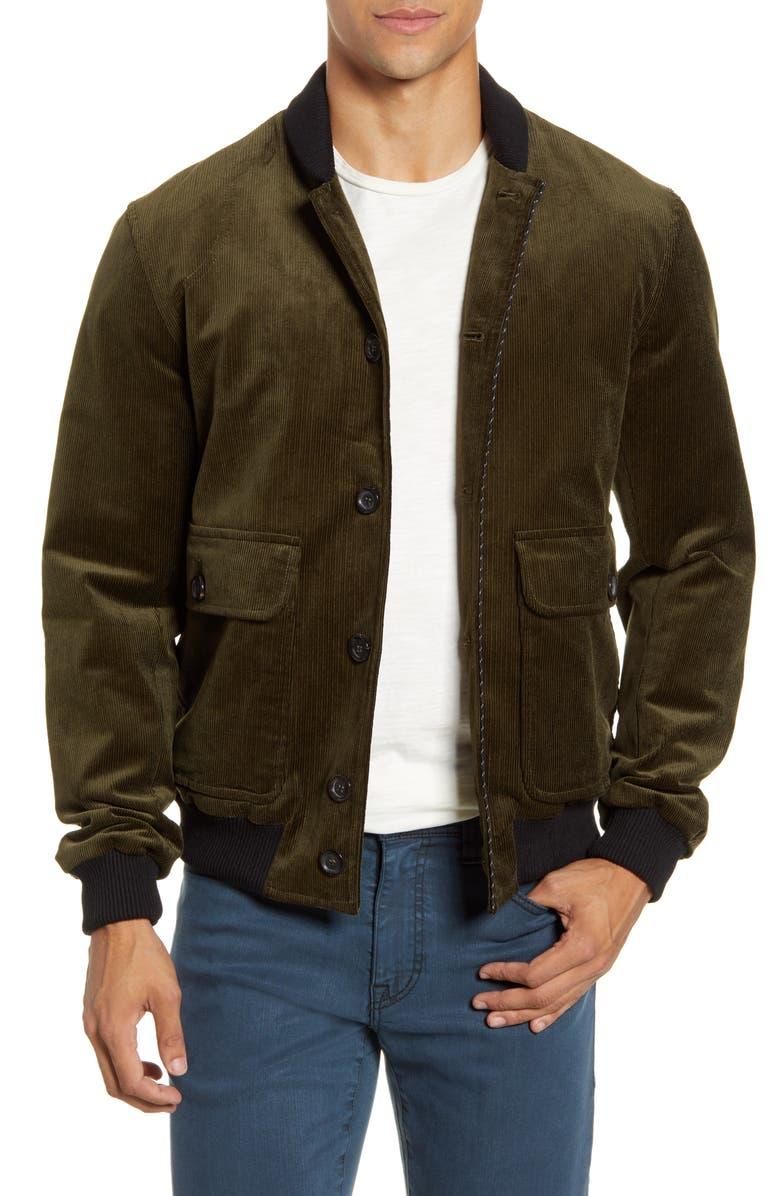 OLIVER SPENCER Lockton Slim Fit Corduroy Bomber Jacket, Main, color, PENTON CORD GREEN