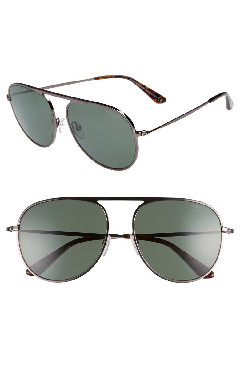 TOM FORD 59mm Aviator Sunglasses, Main, color, SHINY GUMETAL/ GREEN