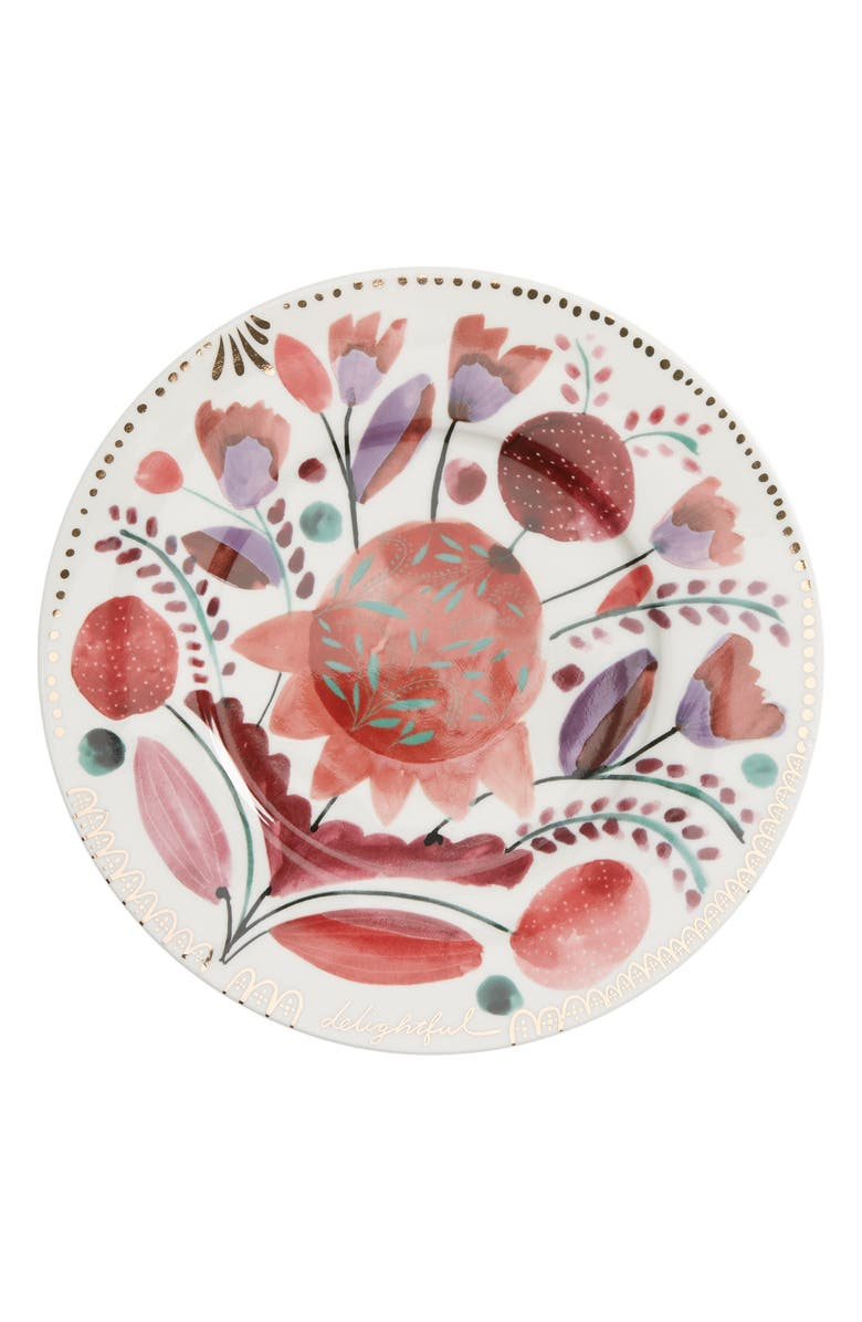 ANTHROPOLOGIE HOME Set of 4 Pheasant Moths Side Plates, Main, color, WHITE