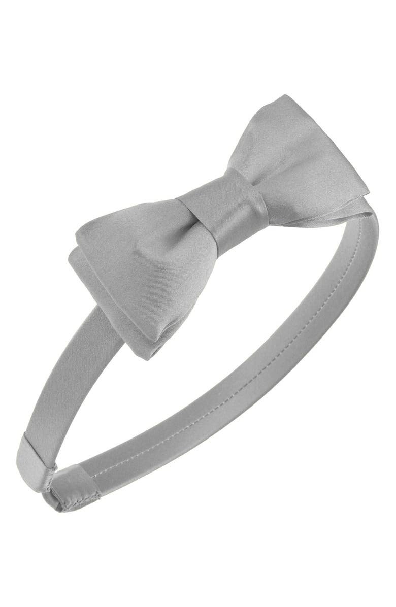 L. ERICKSON 'Blair' Silk Bow Headband, Main, color, SILVER