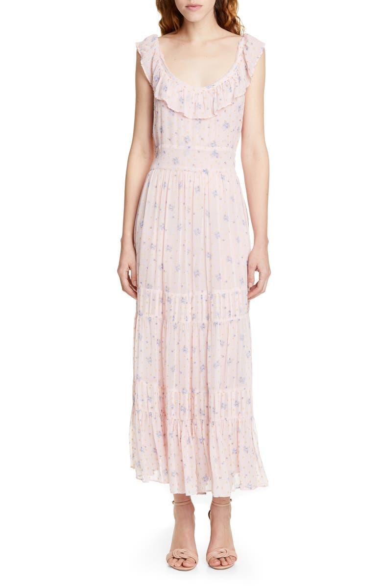 LOVESHACKFANCY Joanne Floral Maxi Dress, Main, color, MAYBELL