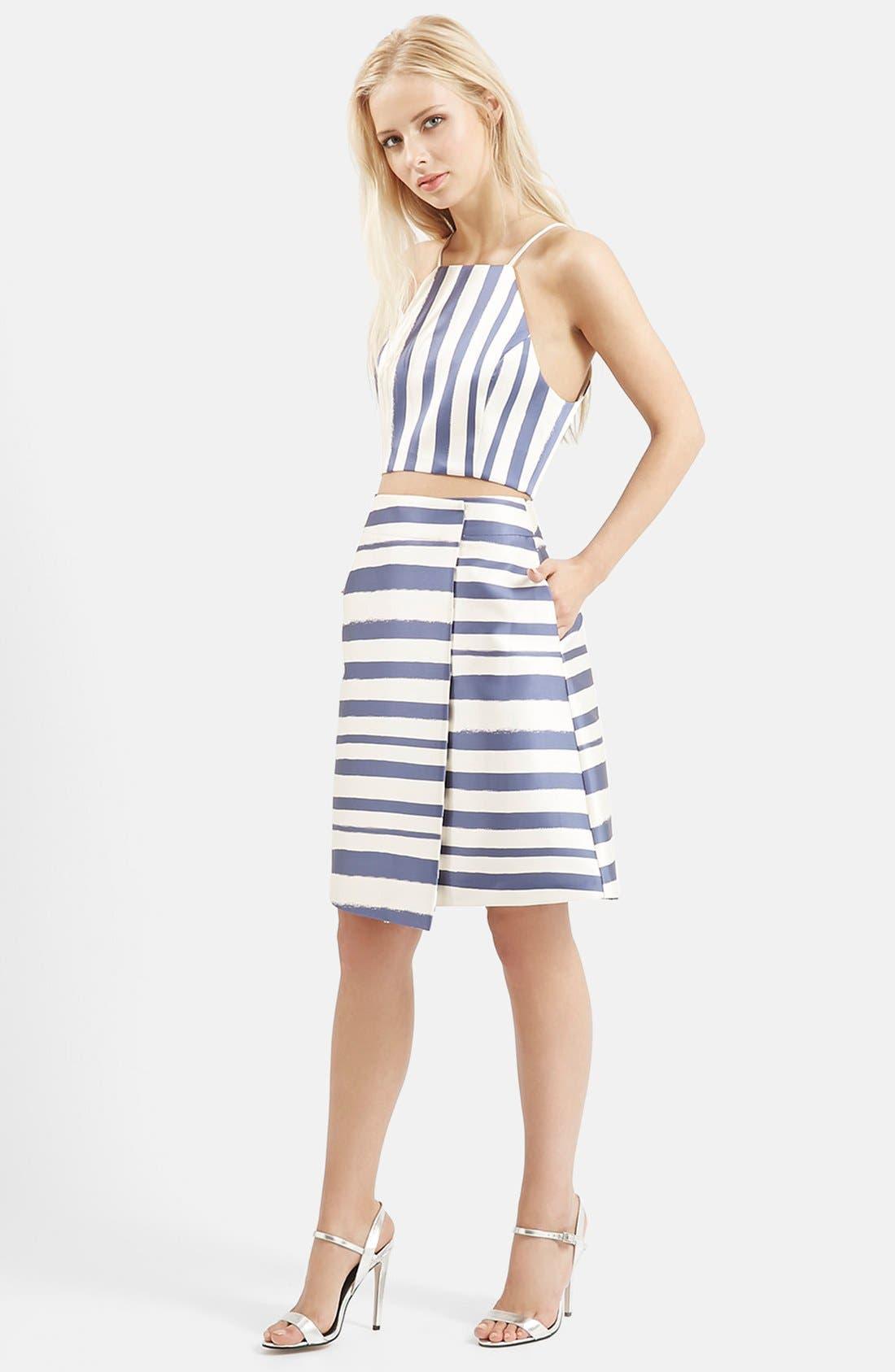 ,                             Stripe Midi Skirt,                             Alternate thumbnail 4, color,                             410
