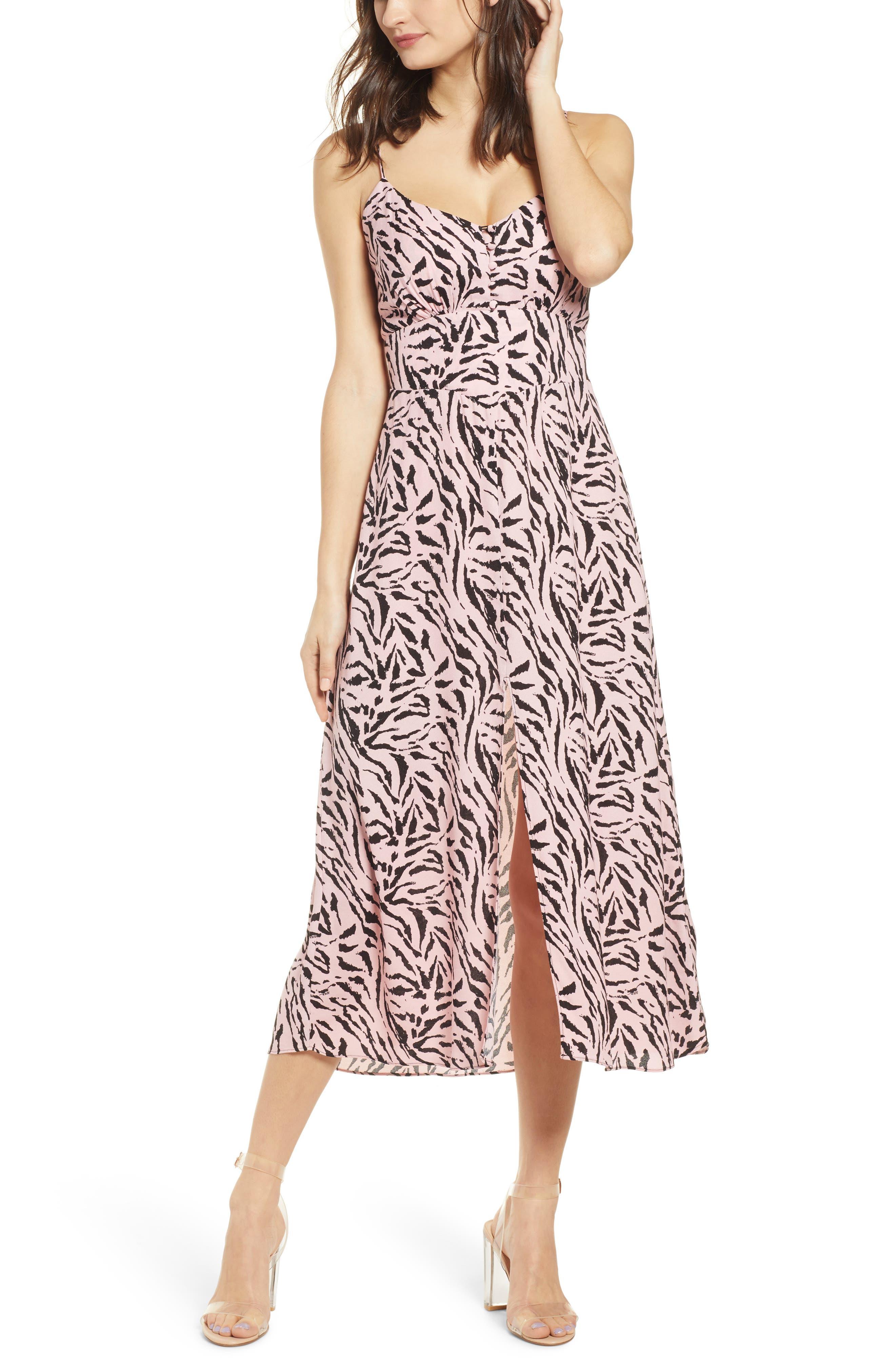 Afrm Print Smocked Back Sundress, Pink