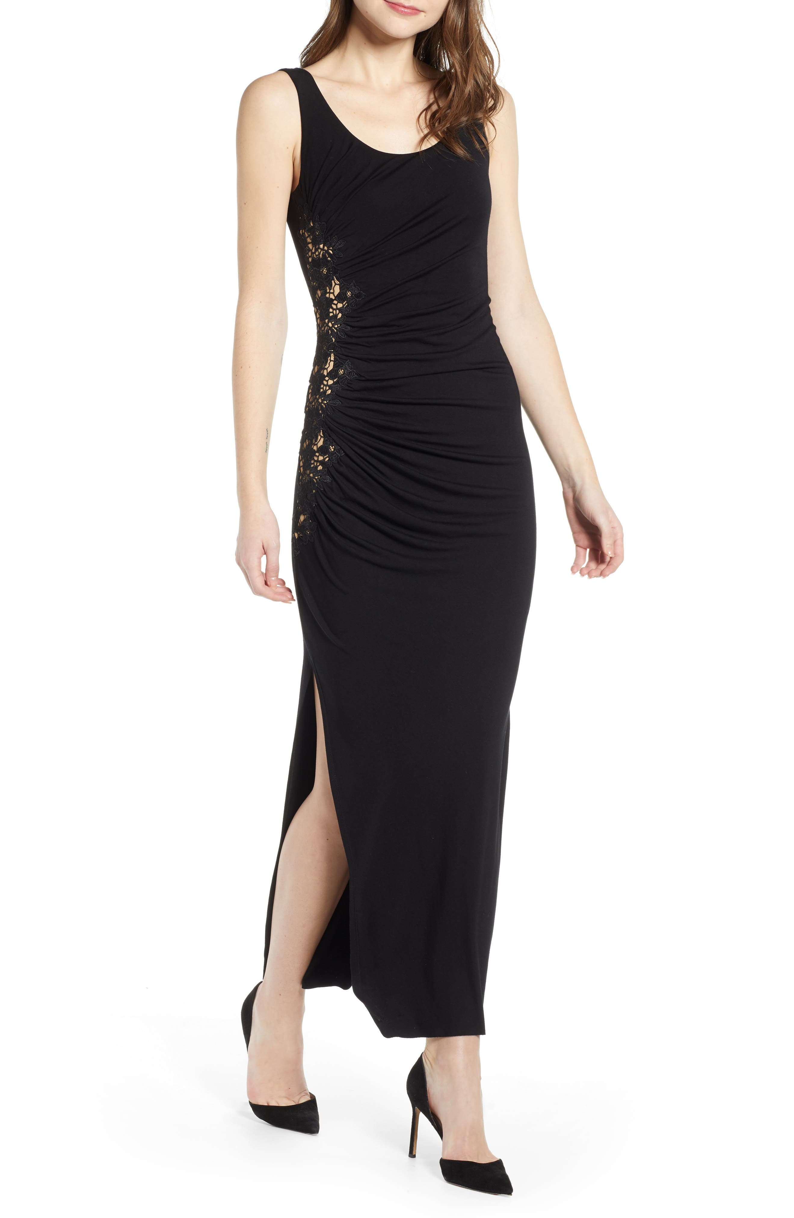 Bailey 44 Drizzle Cake Lace Inset Jersey Maxi Dress, Black