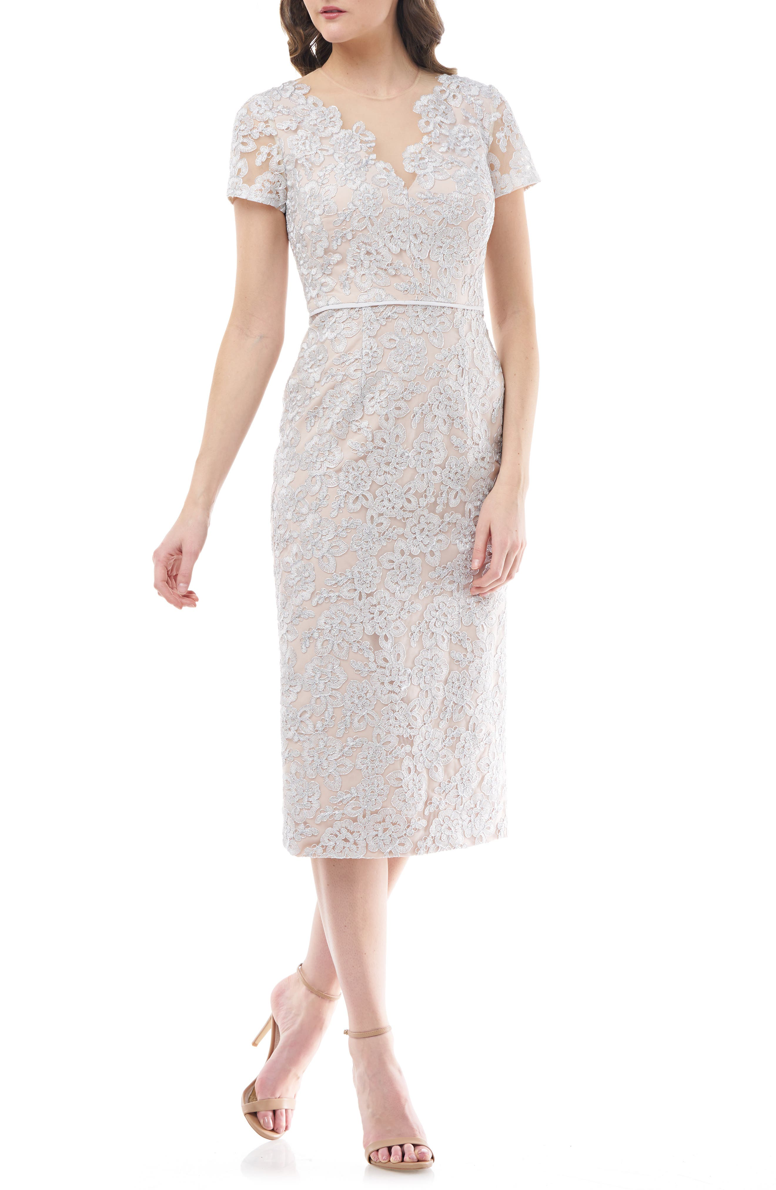 Image of JS Collections Illusion Lace Sheath Cocktail Dress