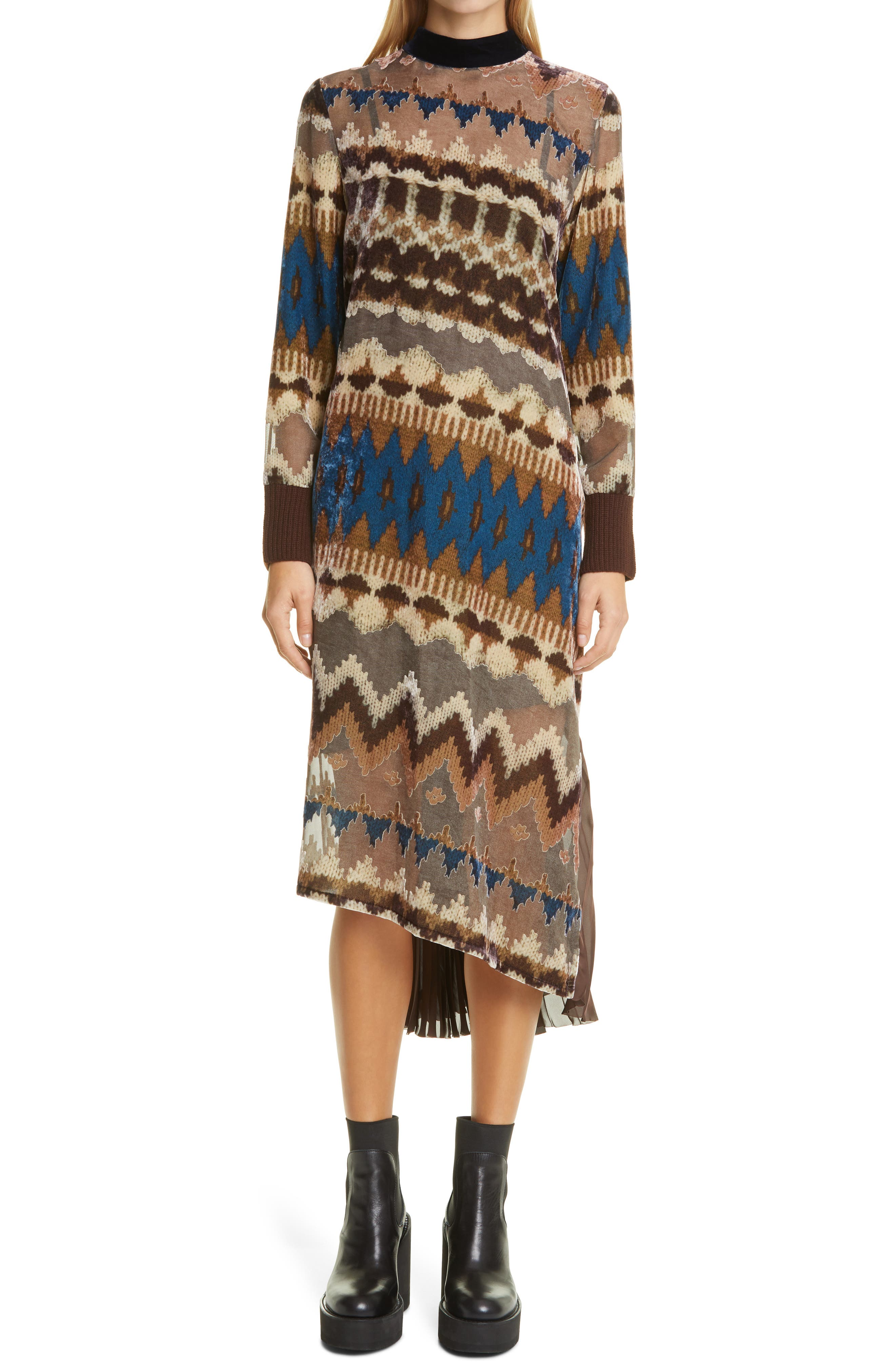 Sacai Nordic Opal Long Sleeve Pleated Dress   Nordstrom