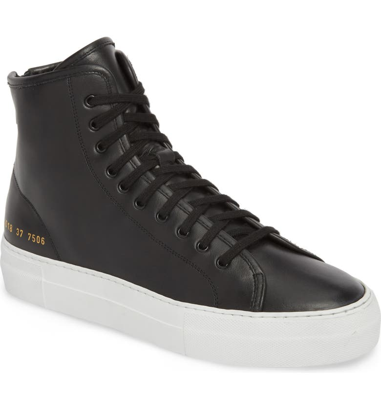 COMMON PROJECTS Tournament High Super Sneaker, Main, color, BLACK/ WHITE
