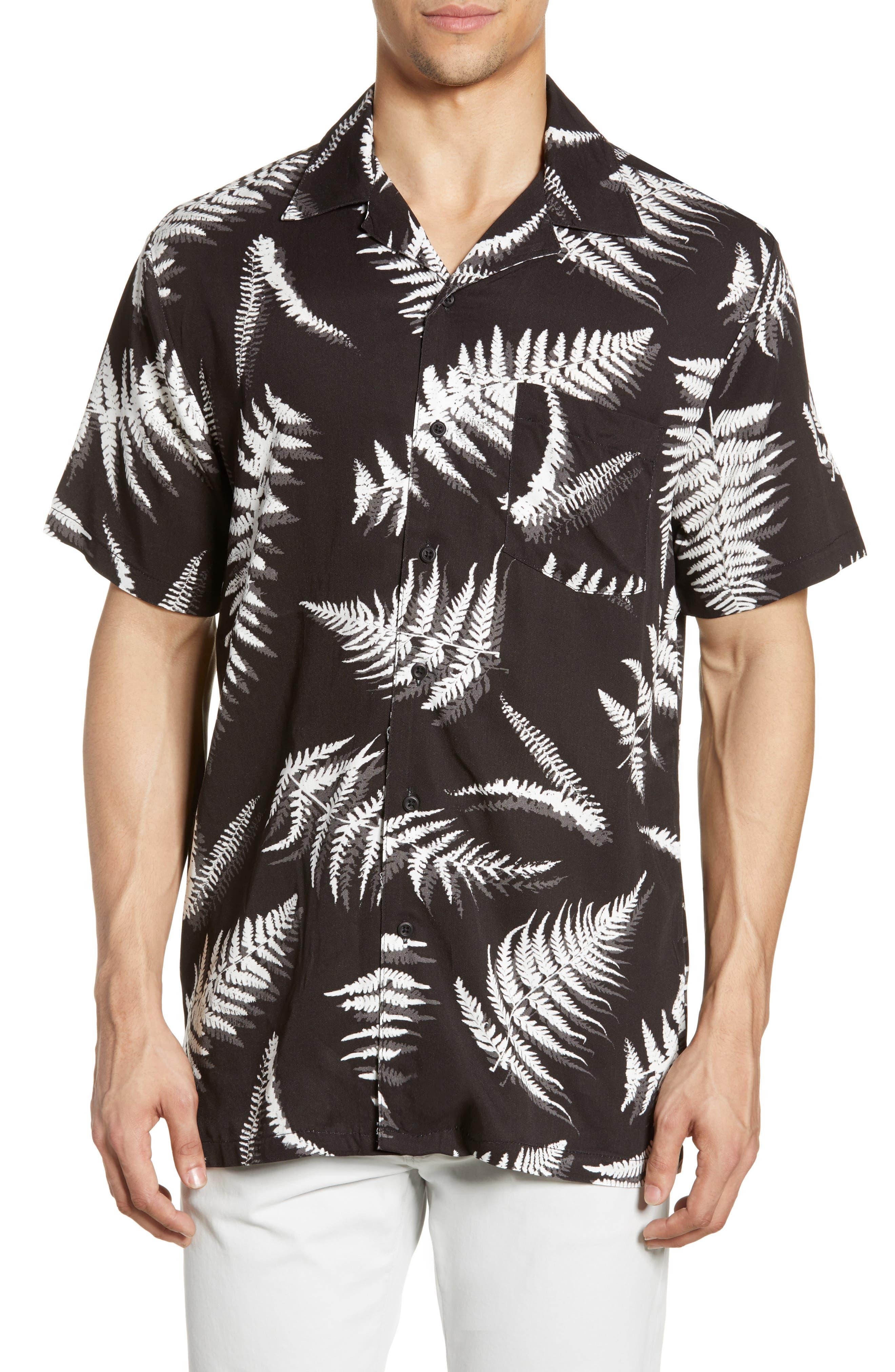 ,                             Fern Leaves Vacation Shirt,                             Main thumbnail 1, color,                             BLACK