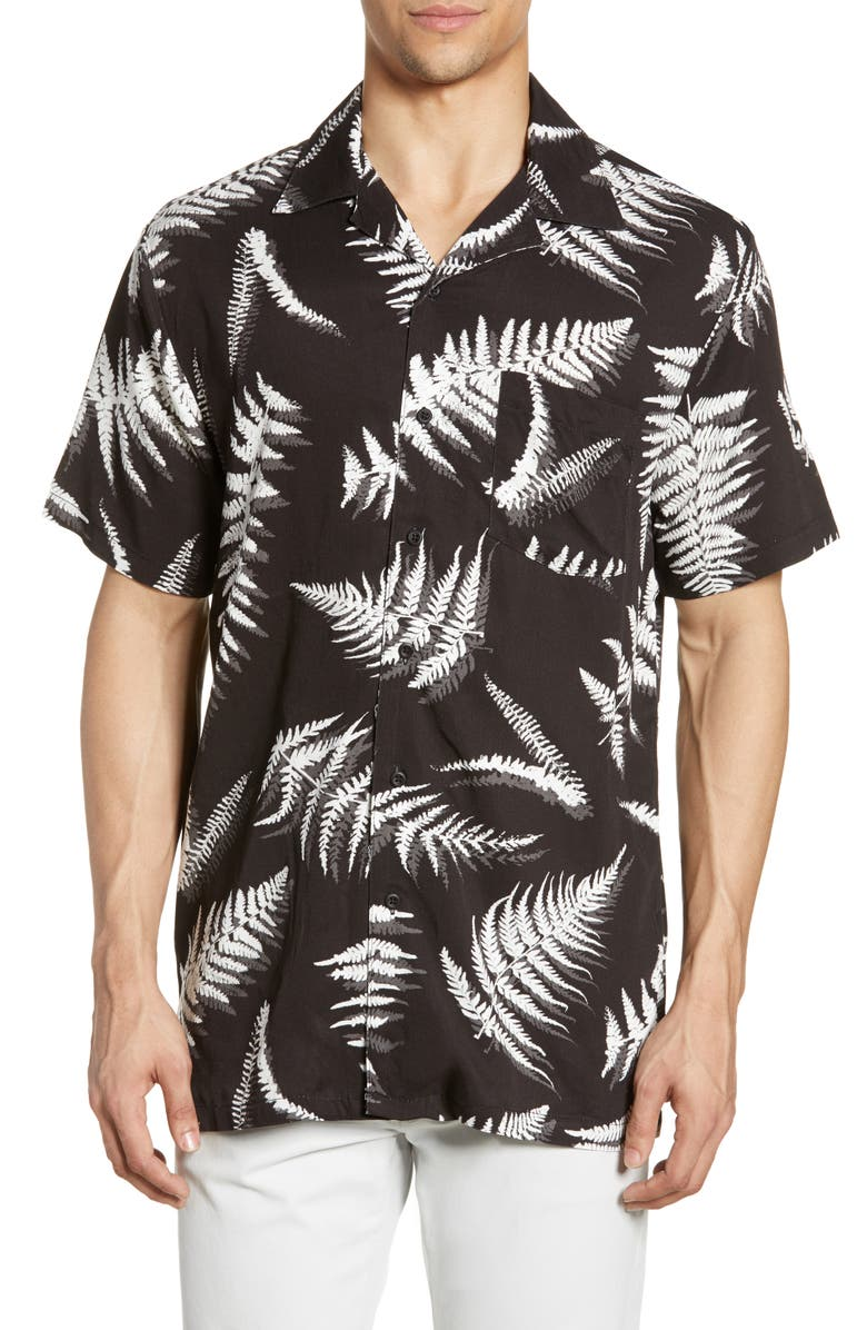 ONIA Fern Leaves Vacation Shirt, Main, color, BLACK