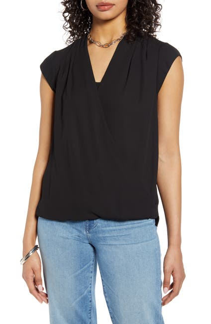 Image of Halogen Surplice Cap Sleeve Blouse