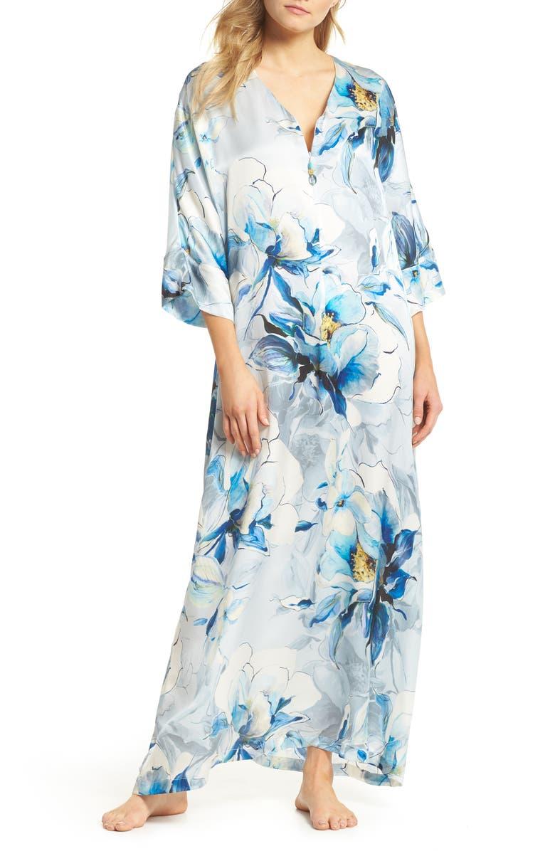 CHRISTINE LINGERIE Silk Caftan, Main, color, SWEPT AWAY PRINT