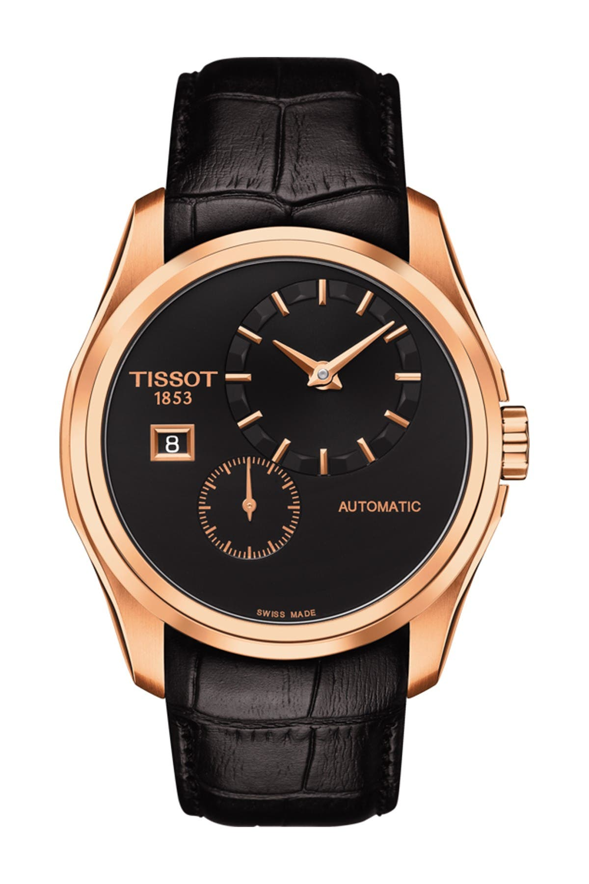 Image of Tissot Men's Couturier Automatic Embossed Leather Strap Watch, 39mm