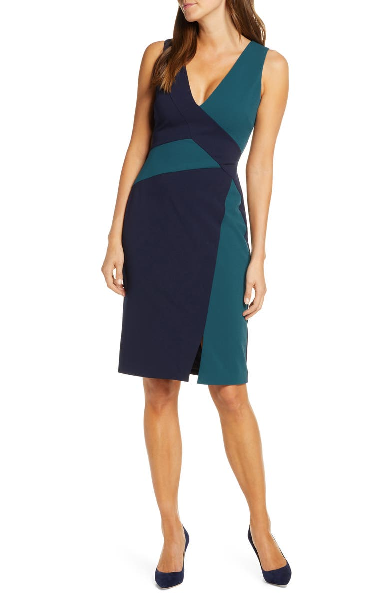VINCE CAMUTO Colorblock Scuba Crepe Sheath Dress, Main, color, MIDNIGHT TEAL
