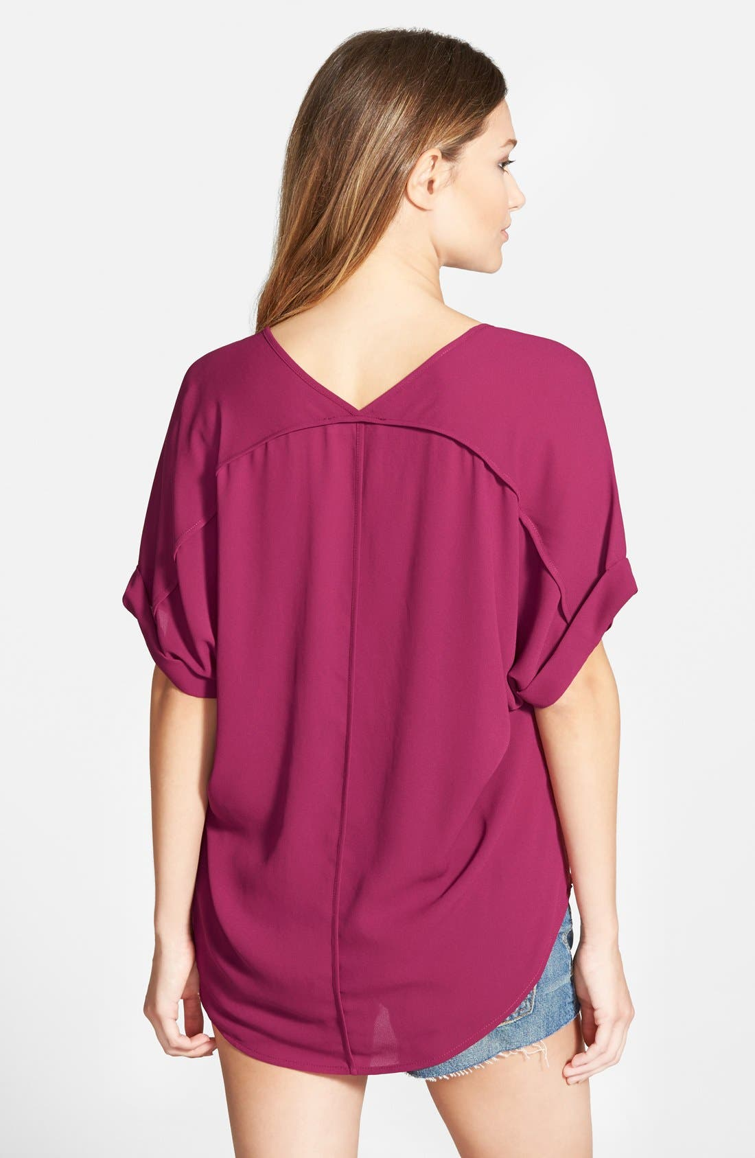 ,                             Lush Cuff Sleeve Woven Tee,                             Alternate thumbnail 138, color,                             503