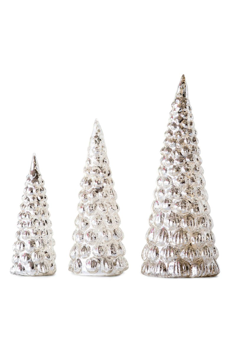 CREATIVE CO-OP Set of 3 Mercury Glass Trees, Main, color, SILVER