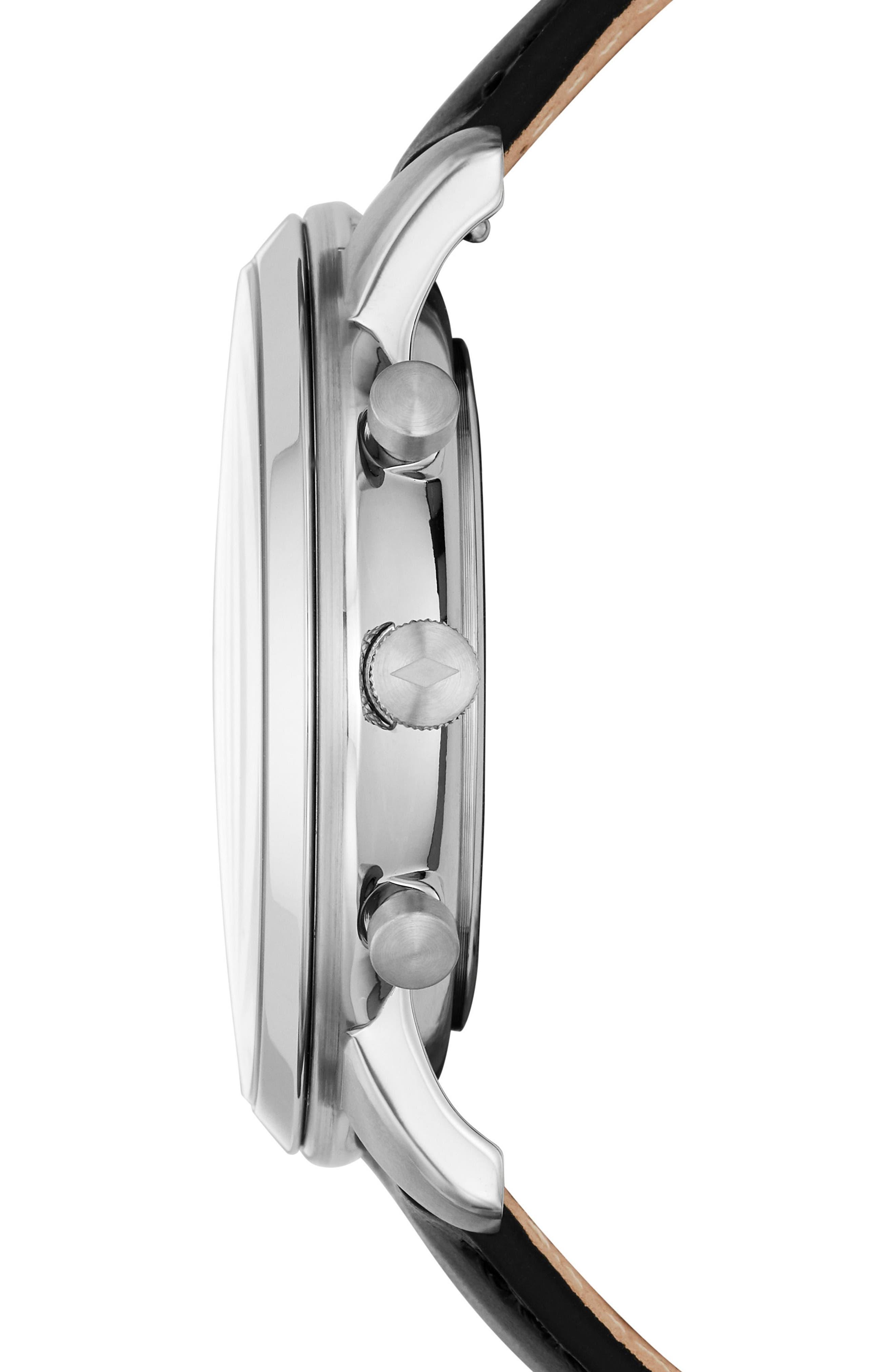 ,                             Neutra Chronograph Leather Strap Watch, 44mm,                             Alternate thumbnail 2, color,                             BLACK/ BLACK/ SILVER