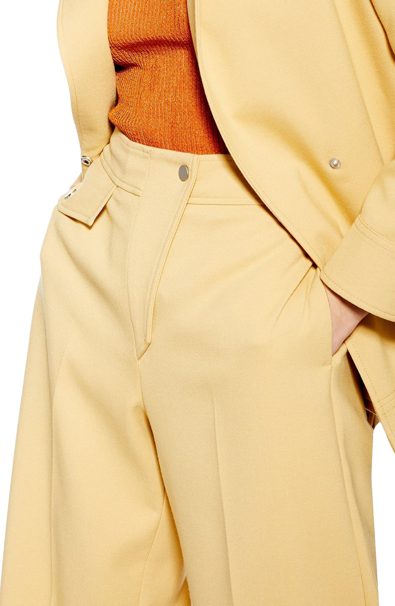 ,                             Bonded Wide Leg Cropped Trousers,                             Alternate thumbnail 4, color,                             LIGHT YELLOW