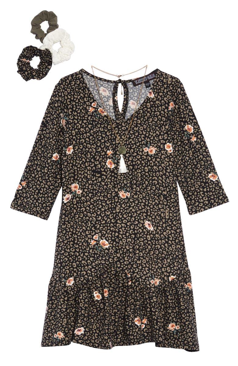 TRIXXI Print Drop Waist Dress with Necklace & Scrunchies, Main, color, OLIVE