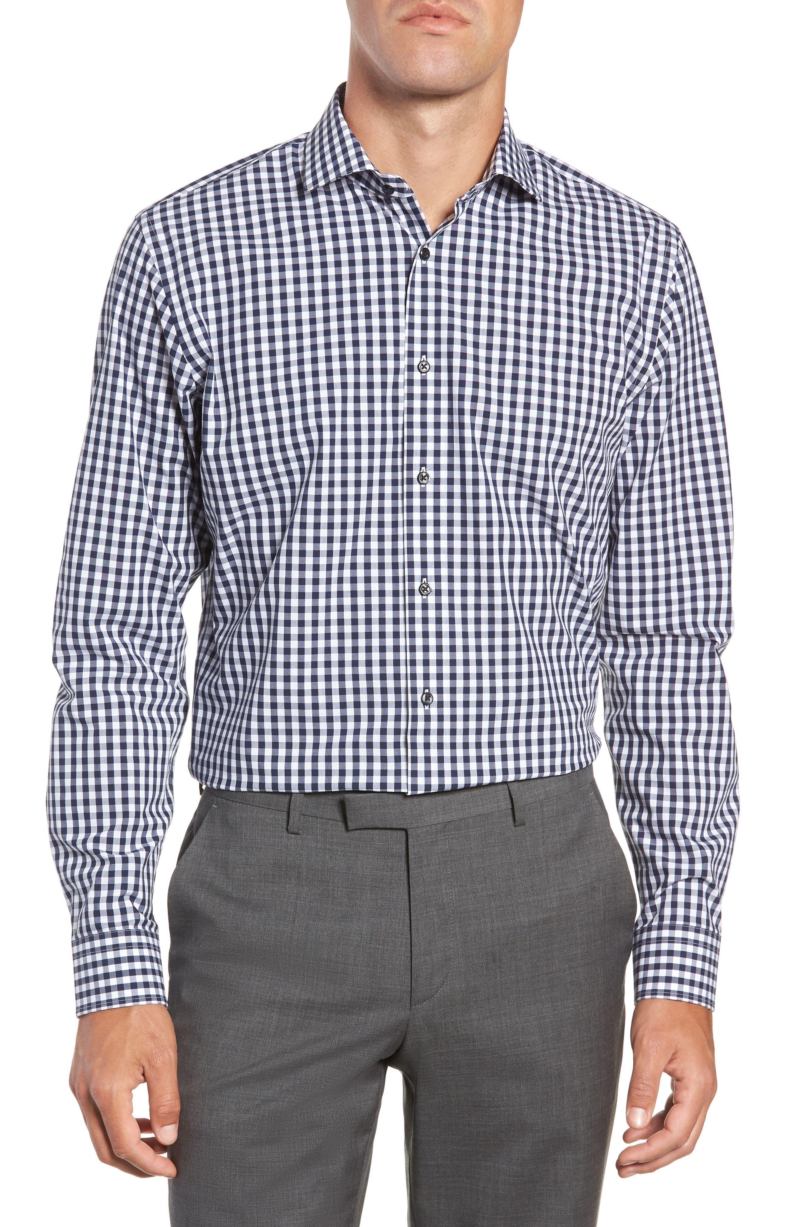 ,                             Tech-Smart Trim Fit Stretch Check Dress Shirt,                             Main thumbnail 15, color,                             401