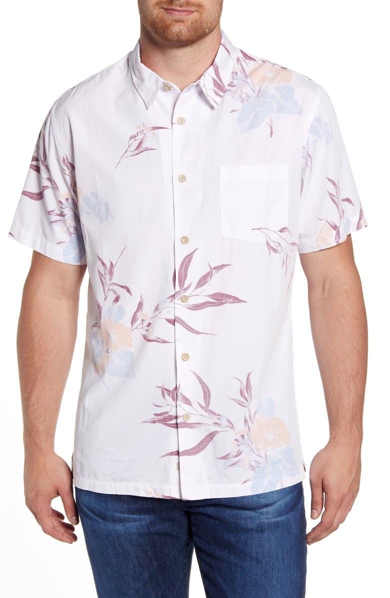 QUIKSILVER WATERMAN COLLECTION Loninum Regular Fit Floral Short Sleeve Button-Up Shirt, Main, color, 101
