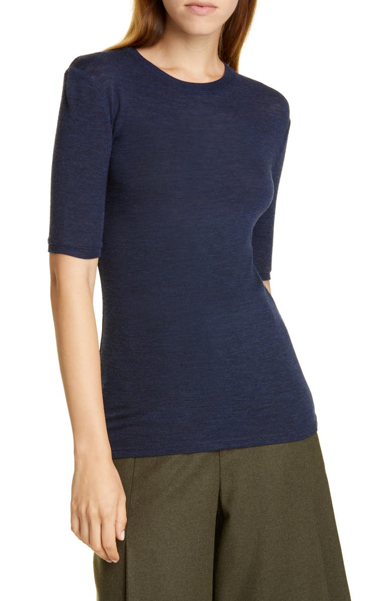VINCE Elbow Sleeve Wool Tee, Main, color, 469