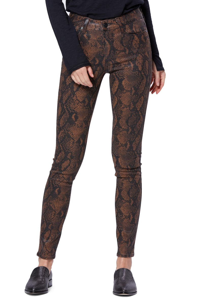PAIGE Transcend Hoxton Coated Ultra Skinny Jeans, Main, color, COATED BROWN SNAKE