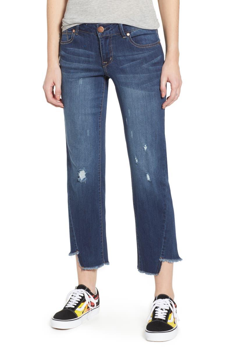 1822 DENIM Twist Hem Straight Leg Jeans, Main, color, CAROLINA