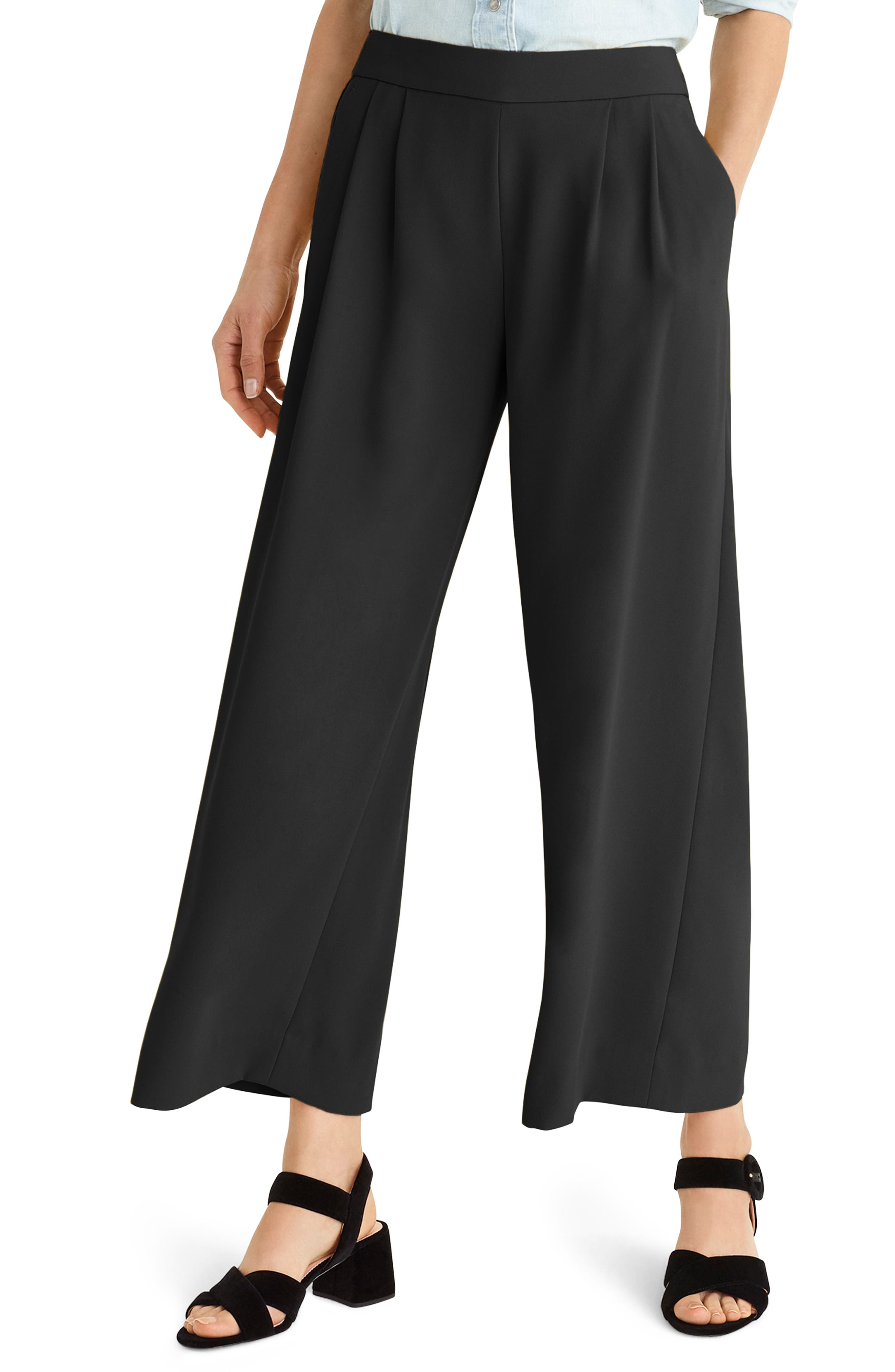 ,                             Wide Leg Crop Pants,                             Main thumbnail 1, color,                             001