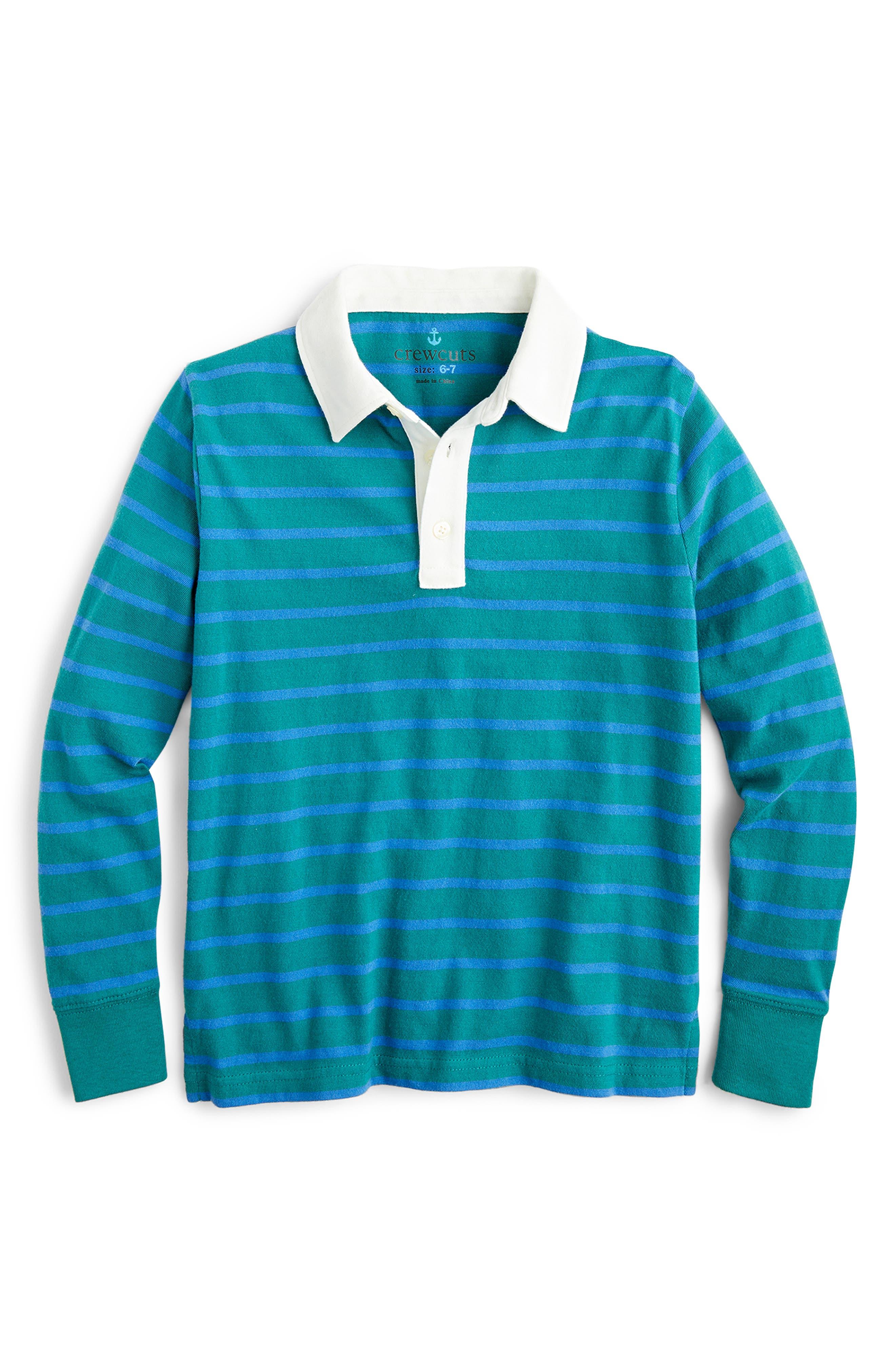 Boys Crewcuts By Jcrew Vintage Stripe Rugby Shirt Size 14  Bluegreen