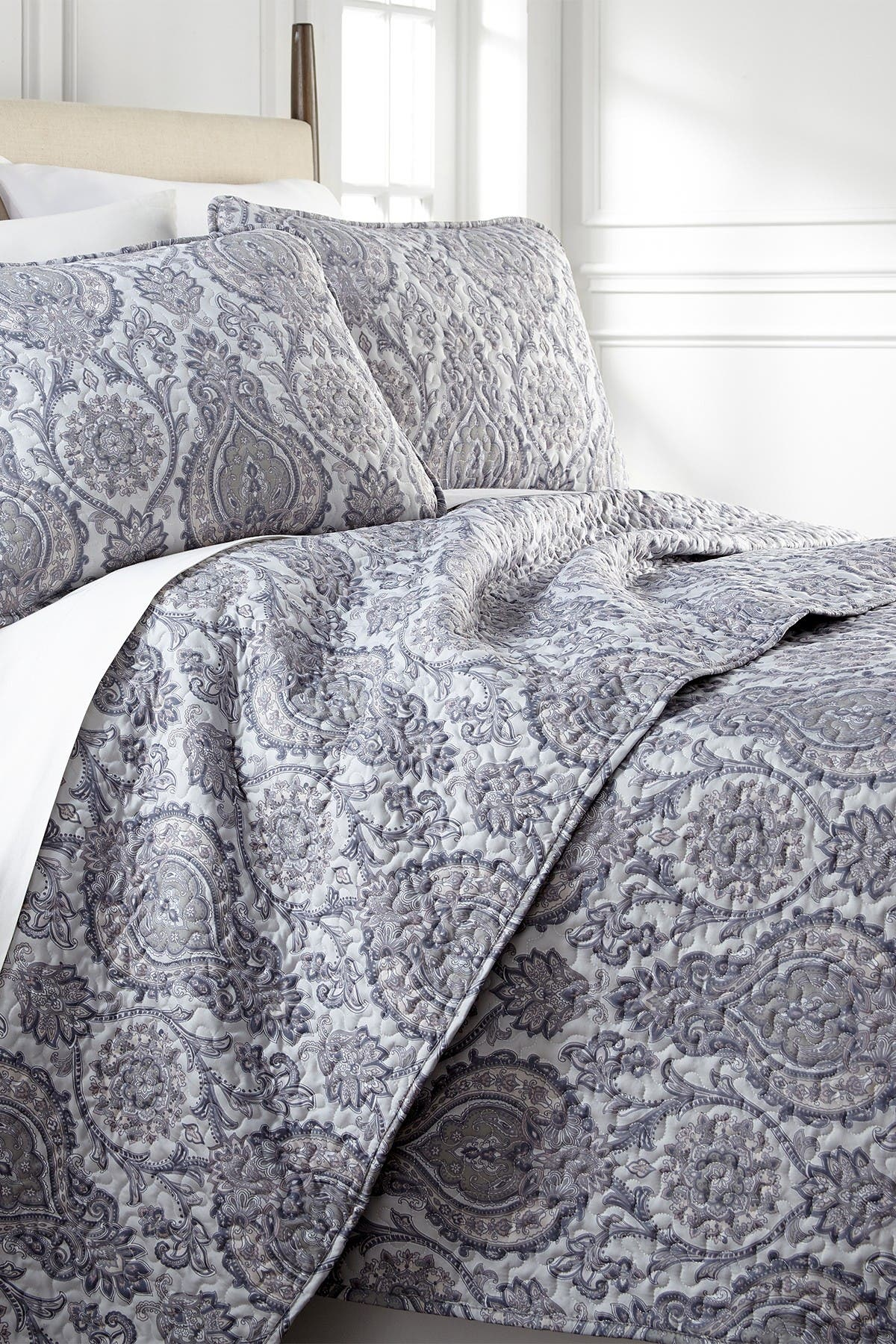 Image of SOUTHSHORE FINE LINENS Full/Queen Sized Luxury Premium Collection Ultra-Soft Quilt Cover Set - Paisley Grey