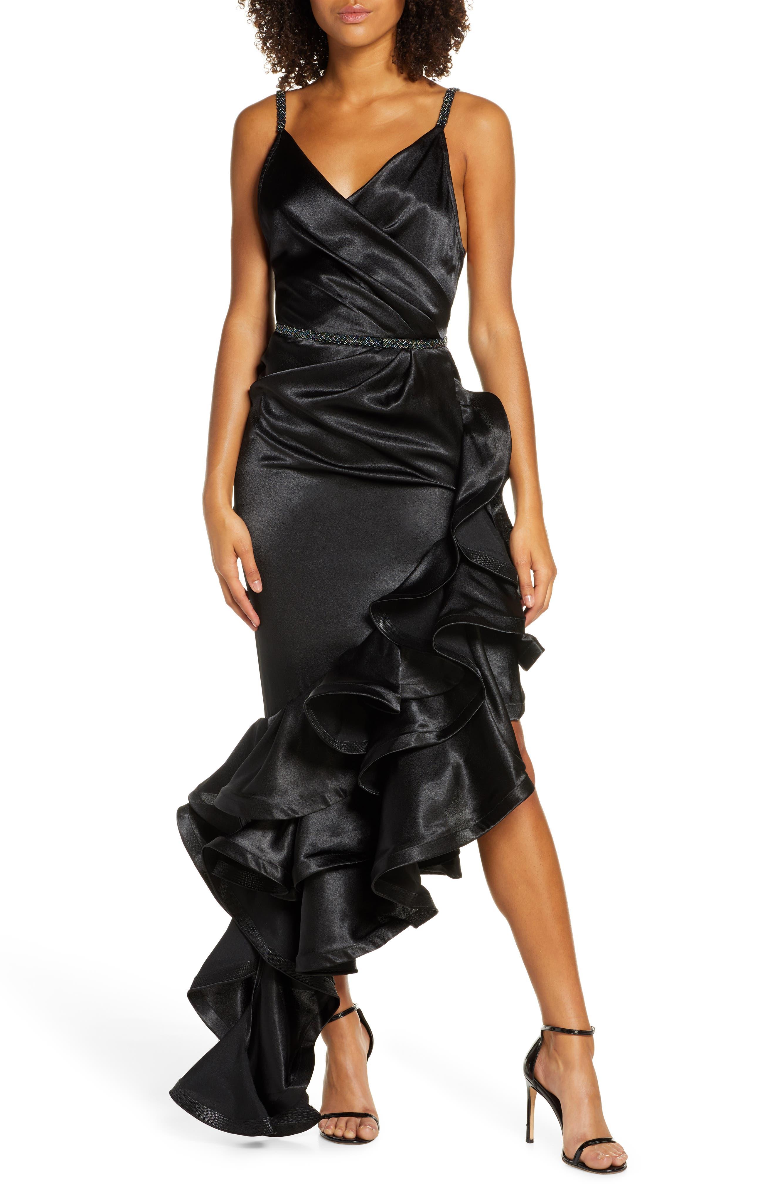 Bronx And Banco Luna Asymmetrical Gown, Black