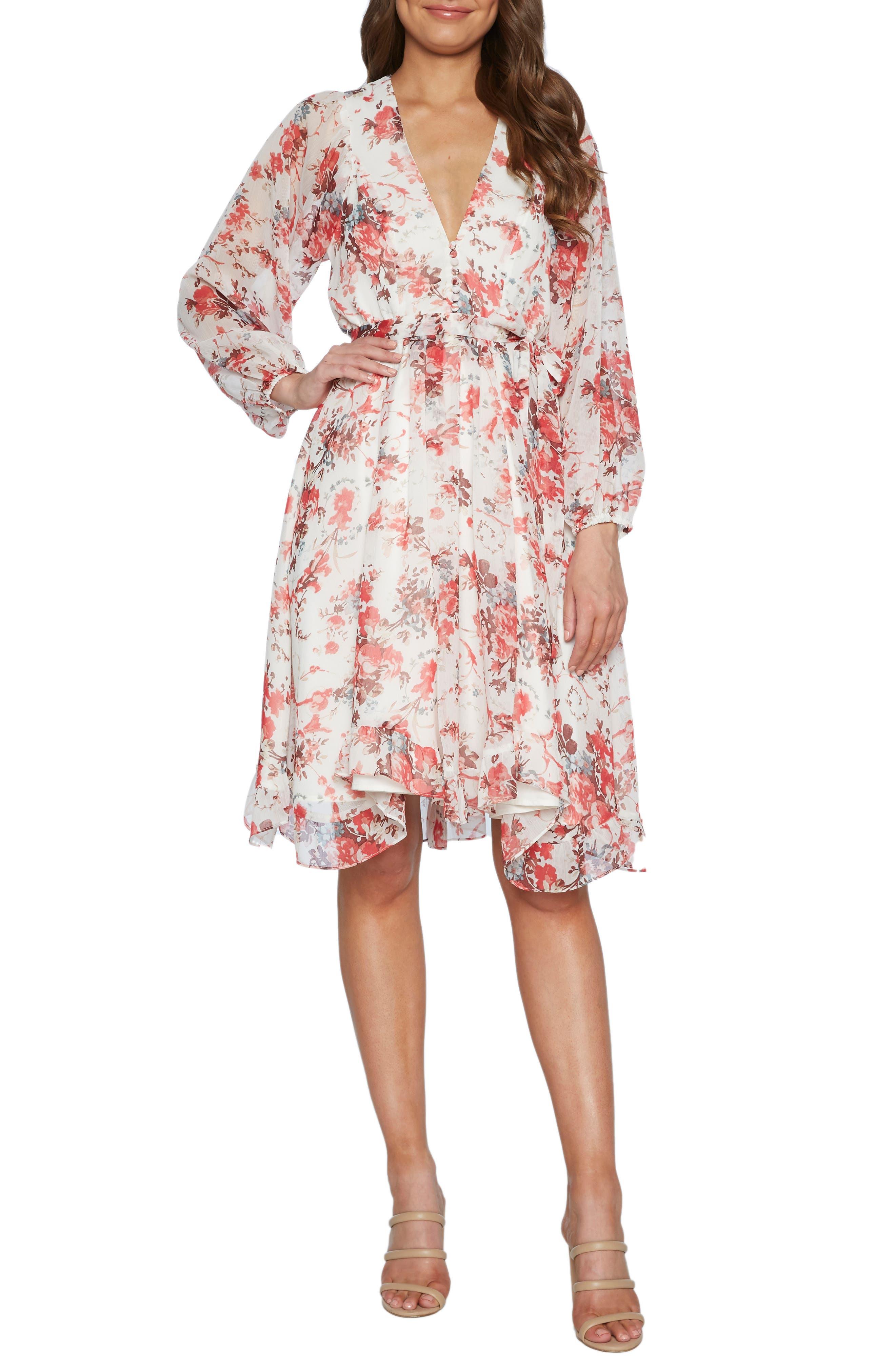 Bardot Alexi Floral Long Sleeve Chiffon Dress, White