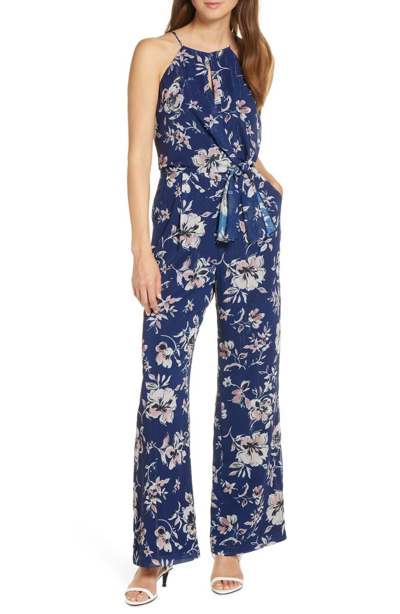 ADELYN RAE Floral Print Wide Leg Jumpsuit, Main, color, 410