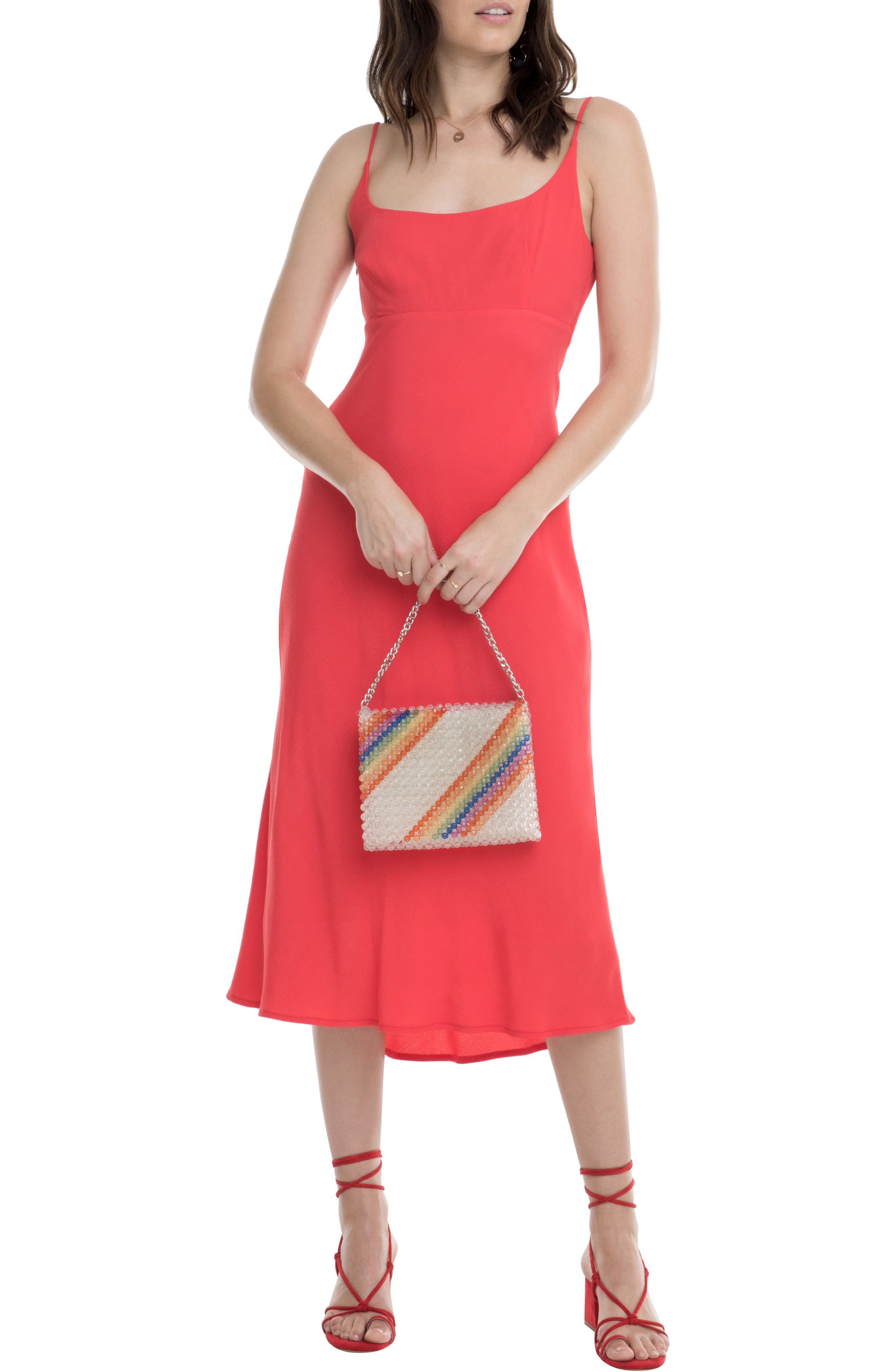 Astr The Label Joan Scoop Neck Midi Dress, Red