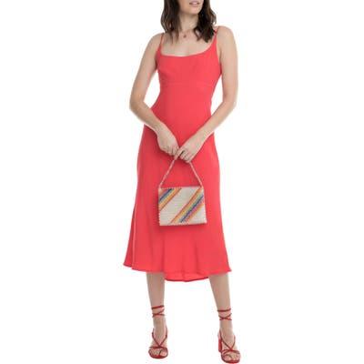 Astr The Label Joan Scoop Neck Midi Dress, Red
