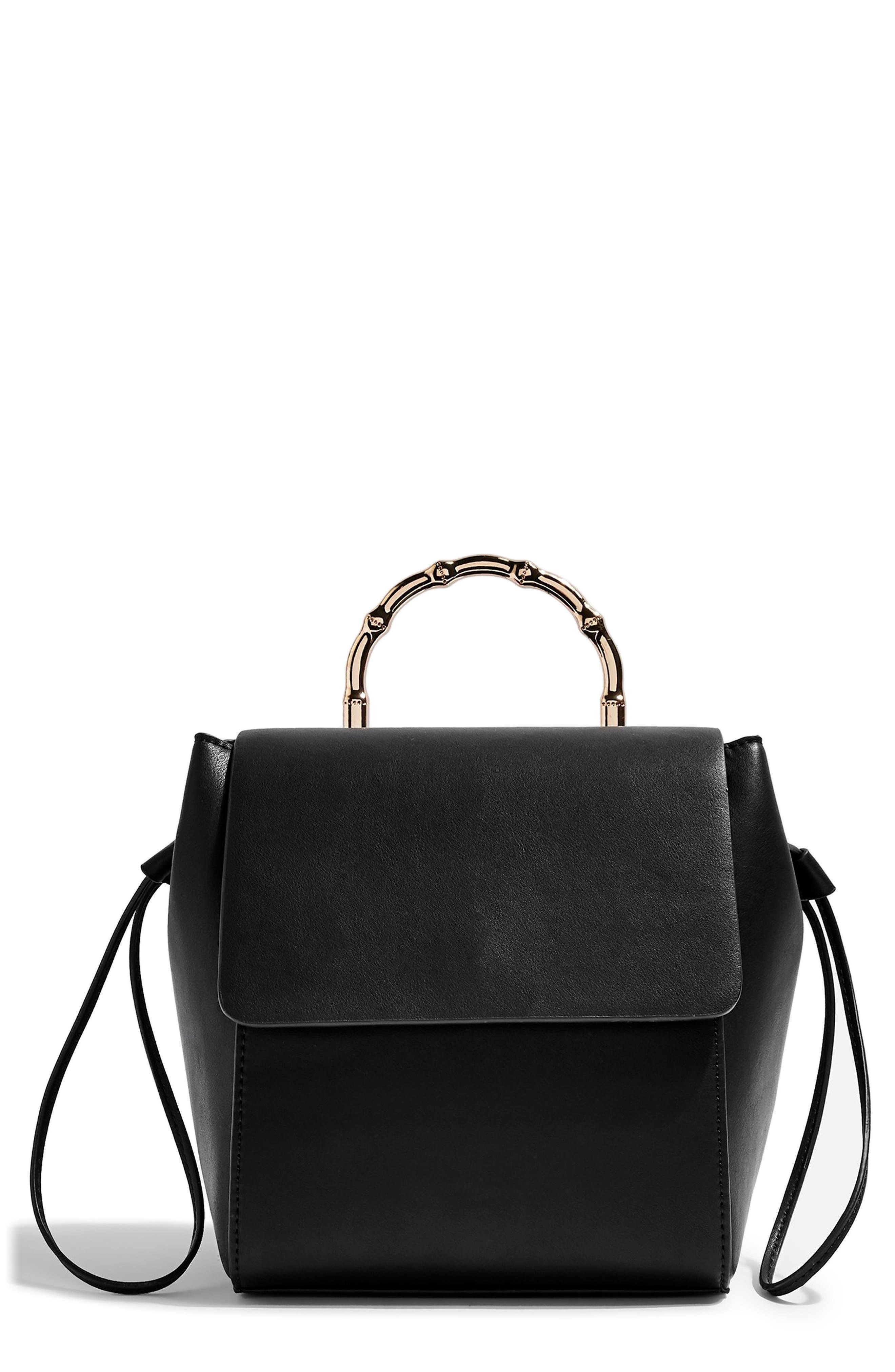 Topshop Bella Faux Leather Backpack - Black