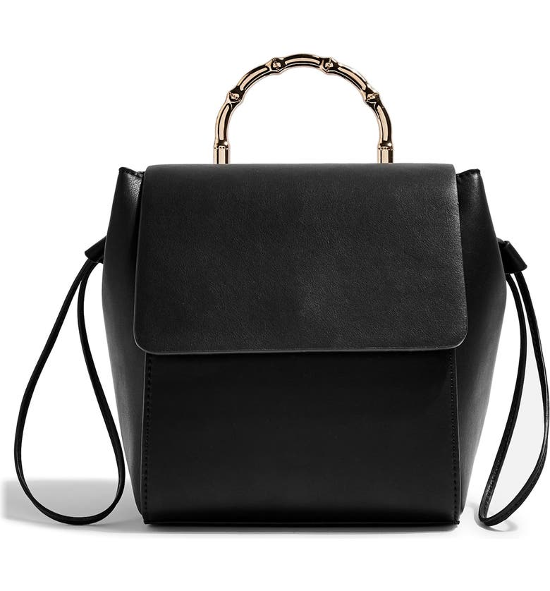 TOPSHOP Bella Faux Leather Backpack, Main, color, 001