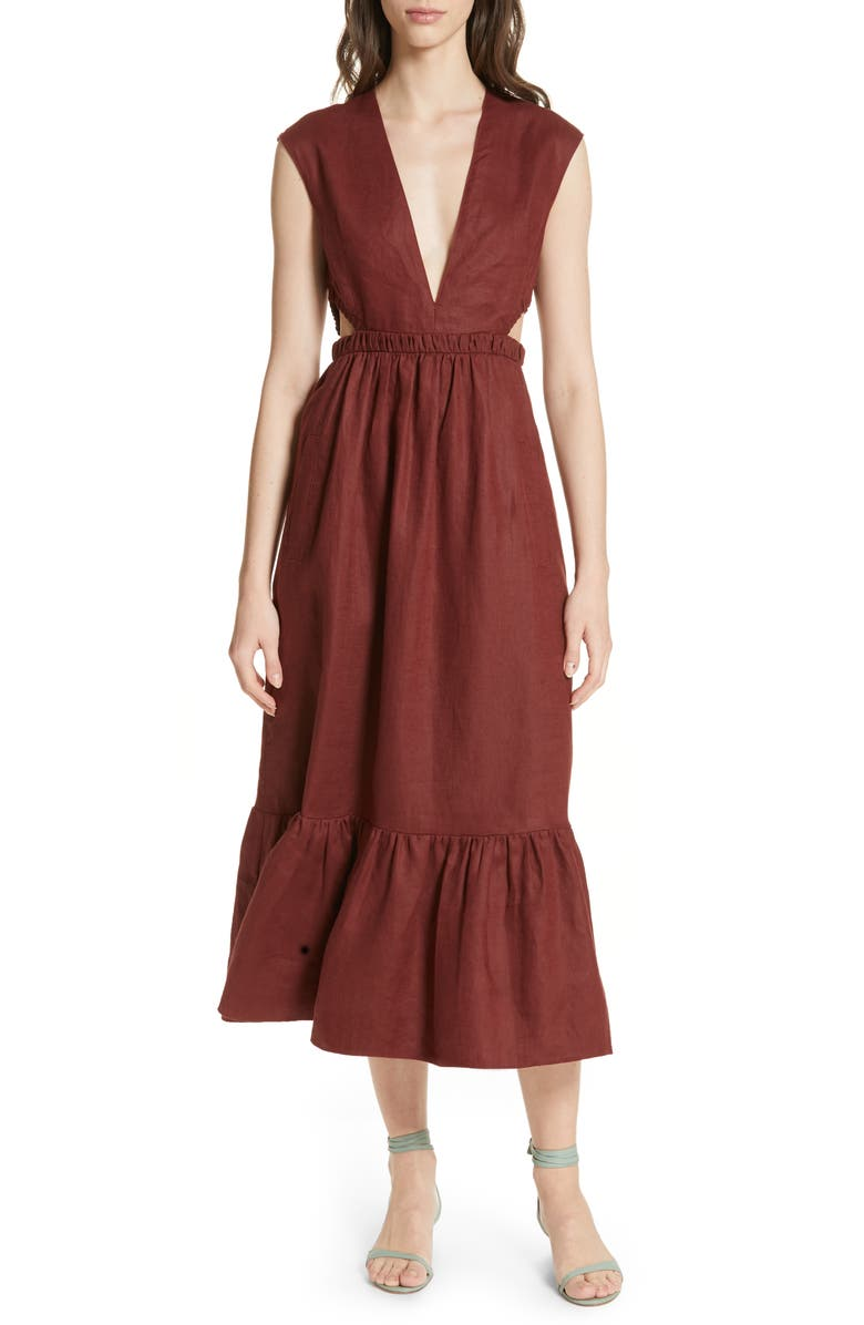 TIBI Cutout Waist Linen Midi Dress, Main, color, BURGUNDY