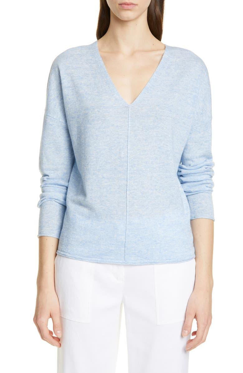 NORDSTROM SIGNATURE Cashmere & Linen V-Neck Sweater, Main, color, BLUE PLACID MARL