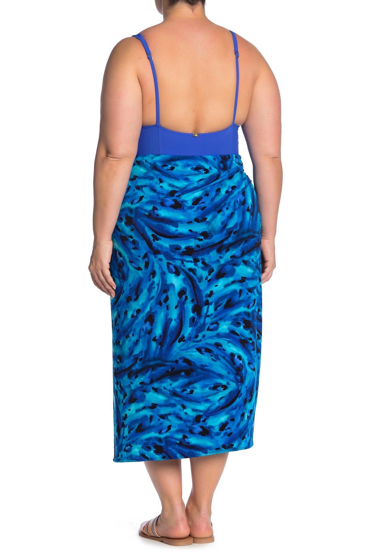 Blue Animal Print Sarong Miraclesuit Swim Sarong in Ocean Ocelot
