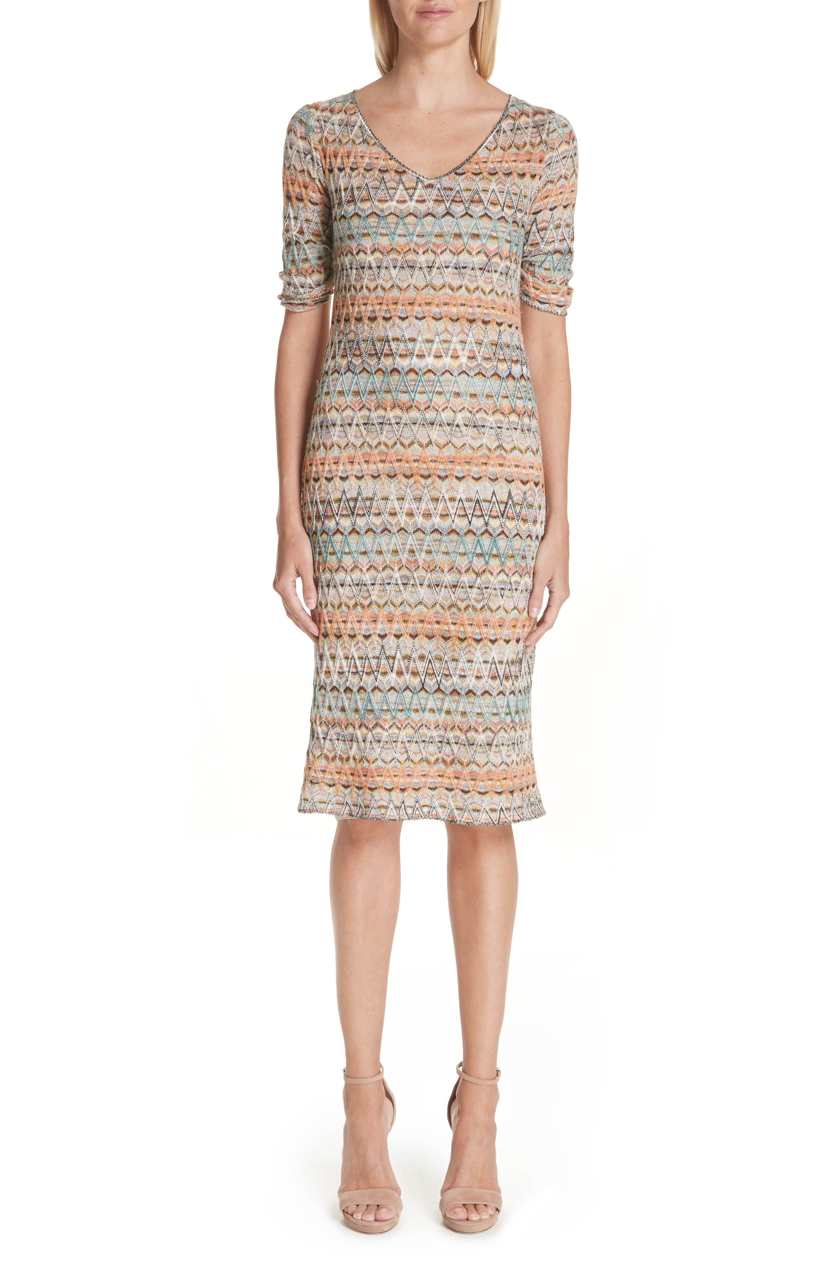 Open Knit Sweater Dress, Main, color, MULTI