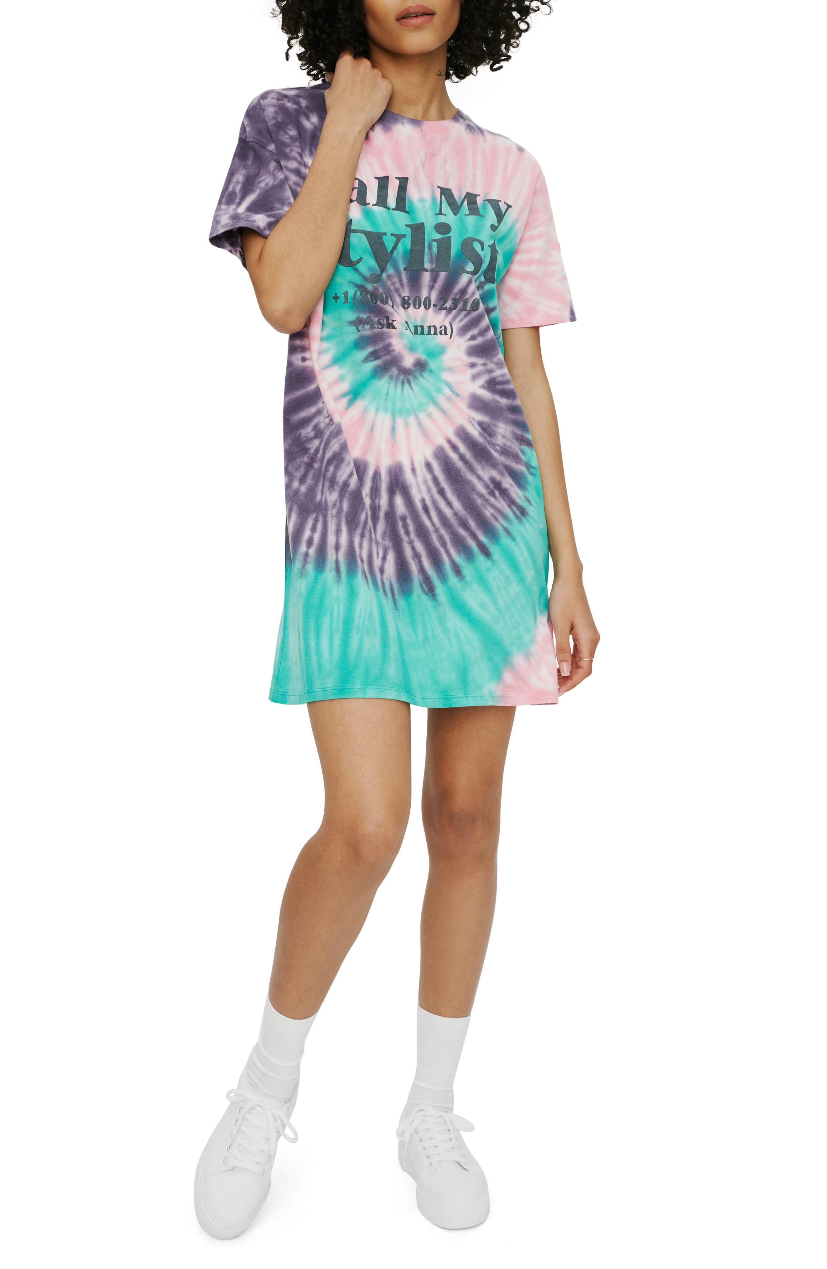 Call My Stylist Tie Dye Graphic T-Shirt Dress