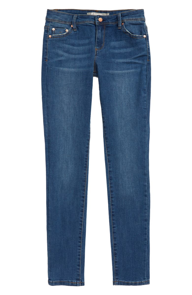 TRACTR Diane Mid Rise Skinny Jeans, Main, color, INDIGO