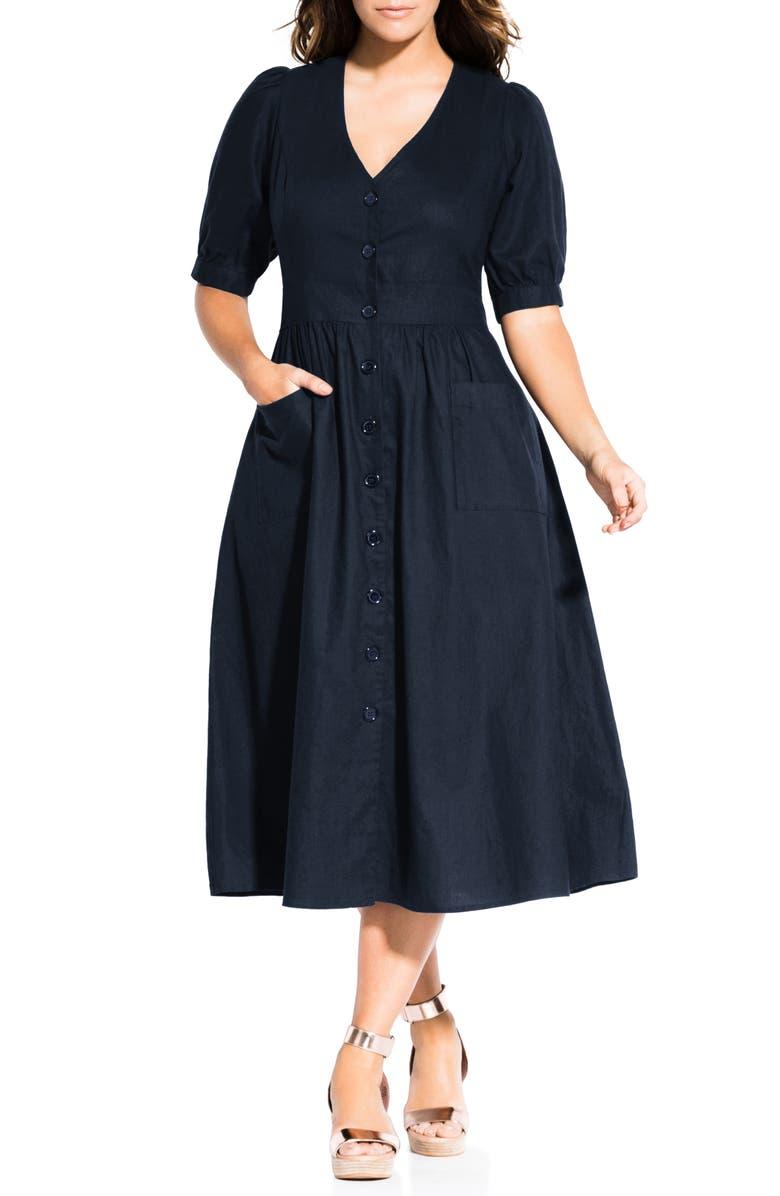 CITY CHIC Luca Button-Up Linen & Cotton Dress, Main, color, 406