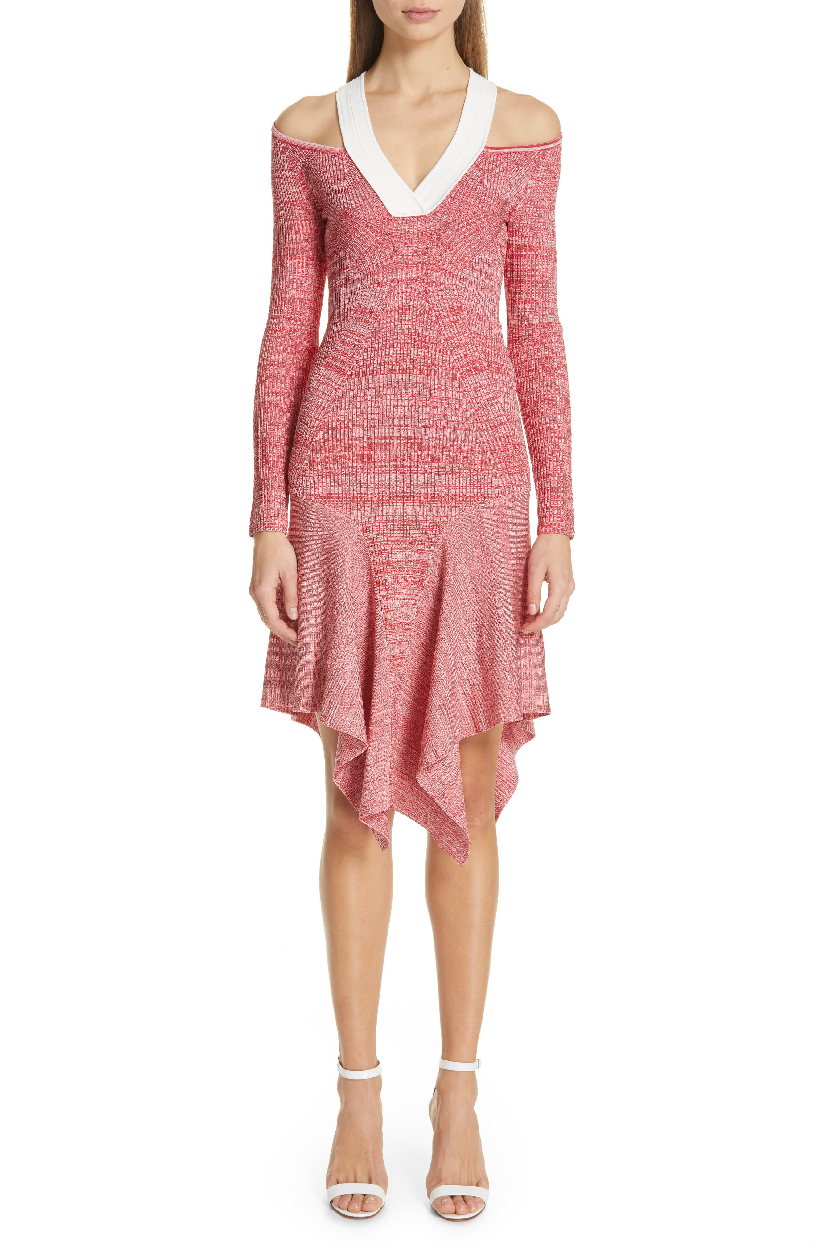 Yigal Azrouel Cutout Melange Knit Dress, Red