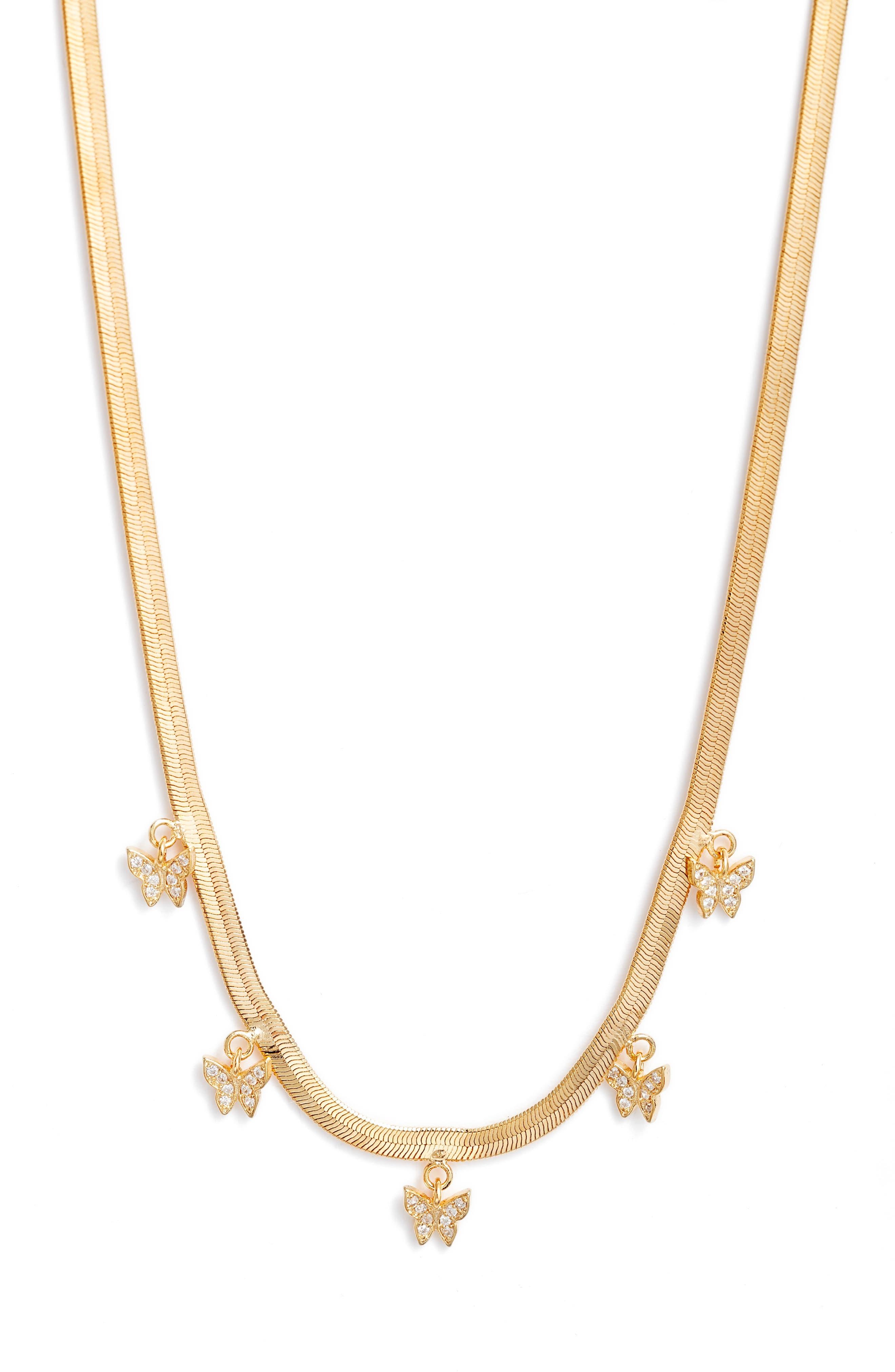 Bracha Free Spirit Cubic Zirconia Herringbone Necklace in Gold at Nordstrom
