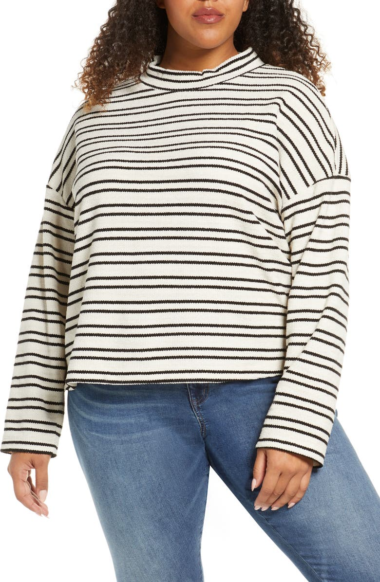SANCTUARY Alea Stripe Pullover, Main, color, PARCHMENT/ BLACK STRIPE