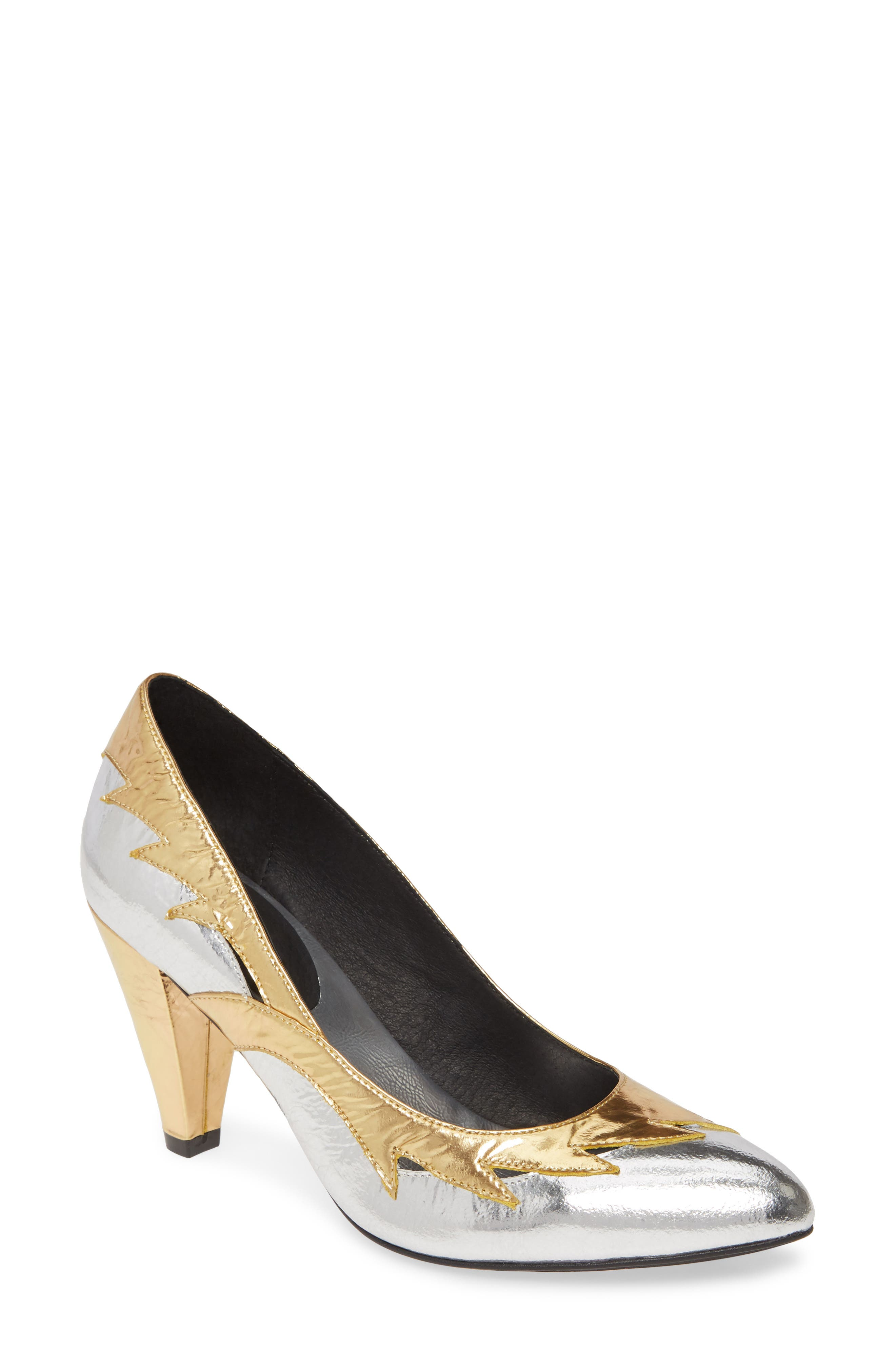 1920s Style Shoes Womens Jeffrey Campbell Cyndi Metallic Pump $129.95 AT vintagedancer.com