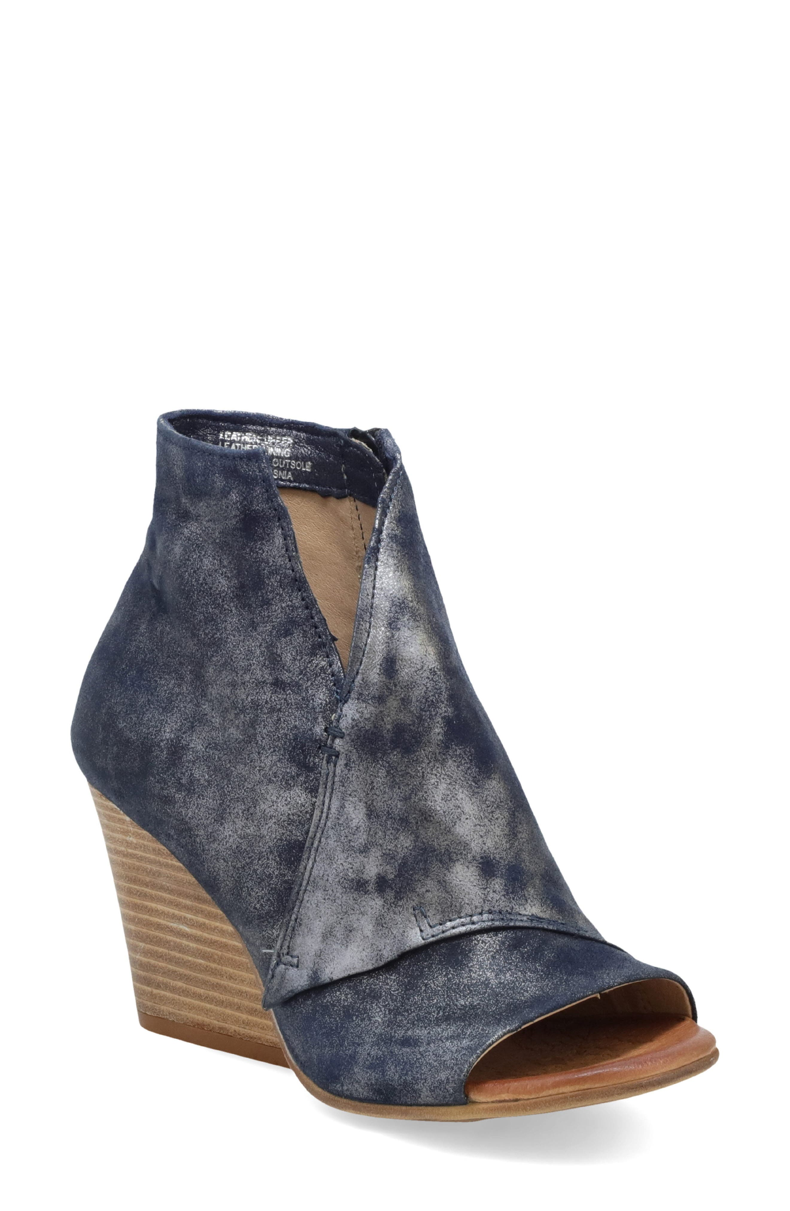 An architectural stacked demi wedge lifts a wrapped-shaft bootie made with a cushioned footbed. Style Name: Miz Mooz Kimball Open Toe Bootie (Women). Style Number: 5762940. Available in stores.